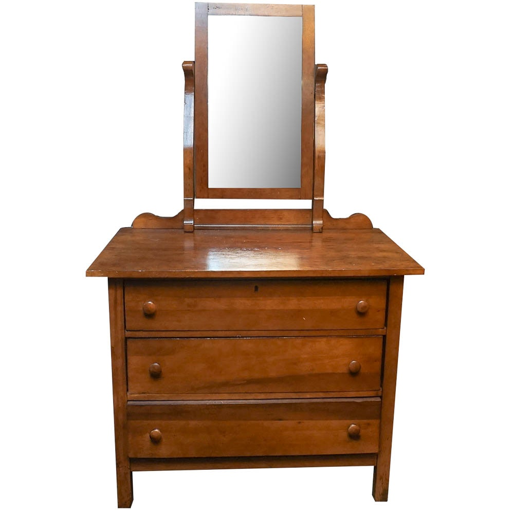 Vintage Walnut Chest of Drawers with Mirror