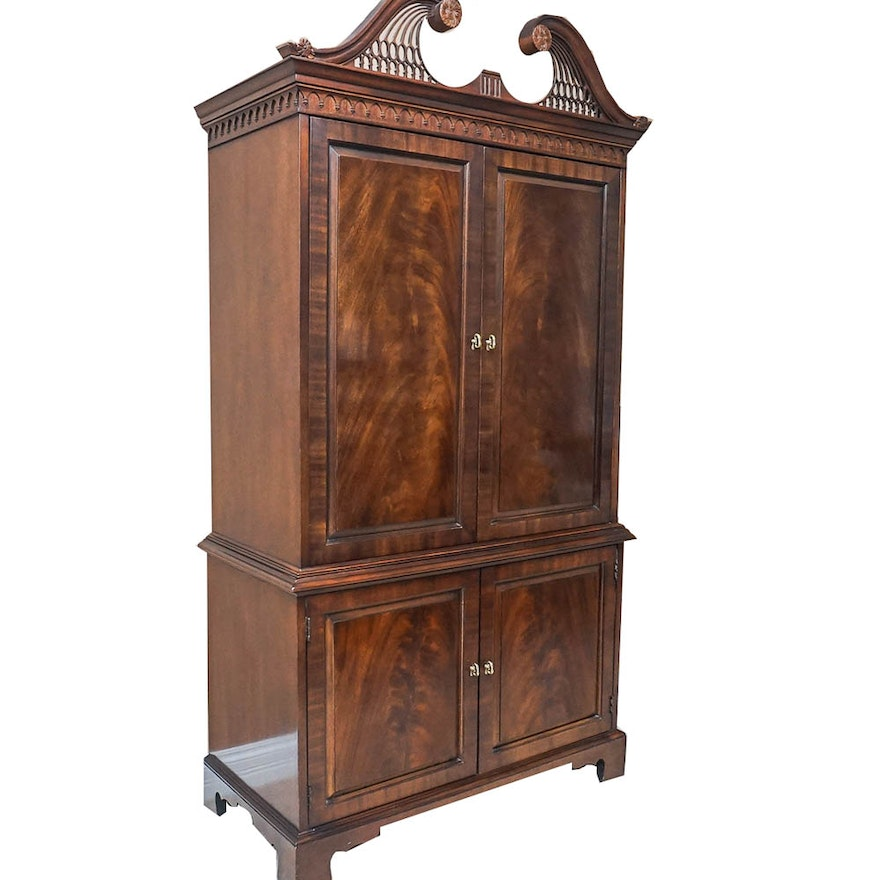 Vintage federal style mahogany entertainment armoire by for Entertainment armoire