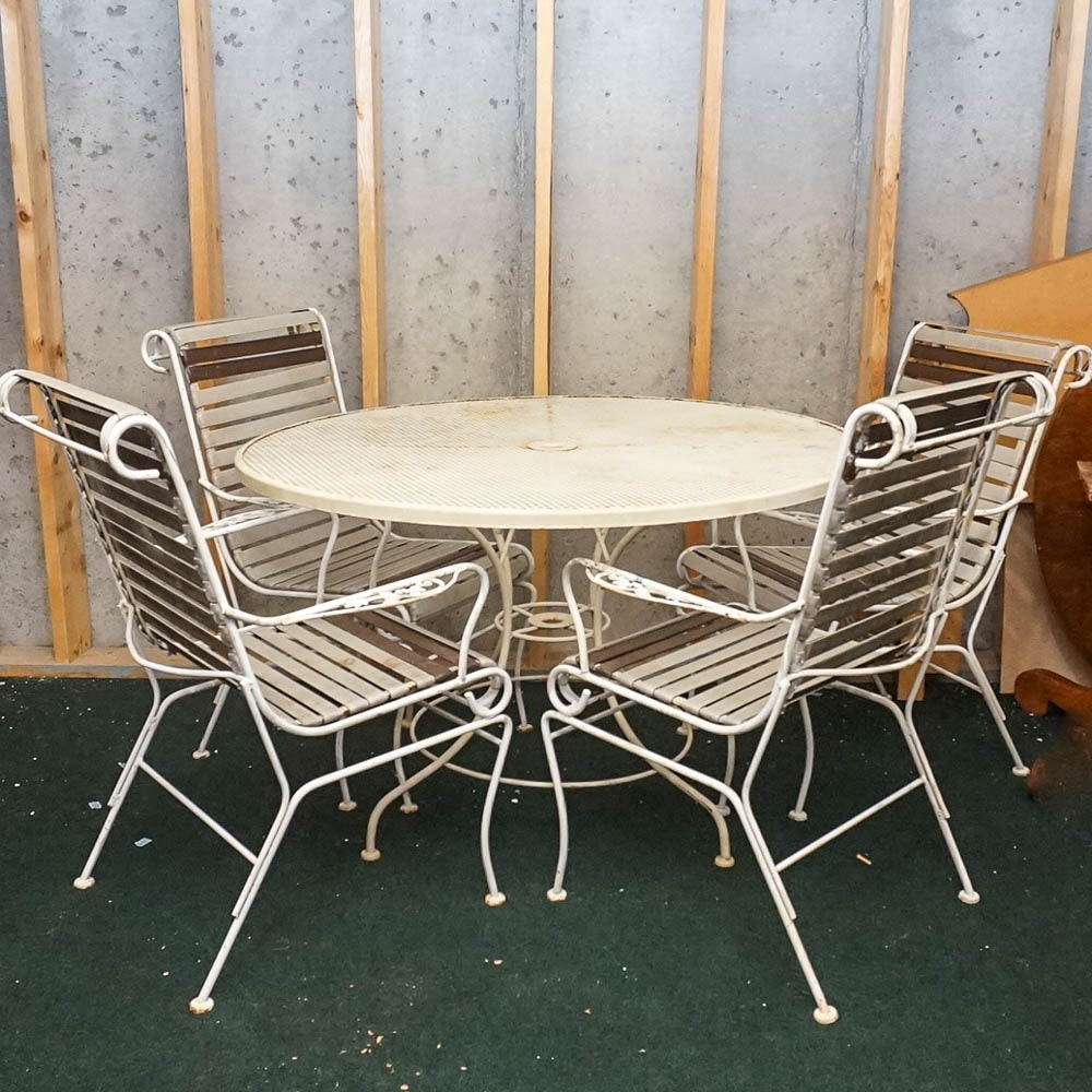 White Metal Patio Dining Set