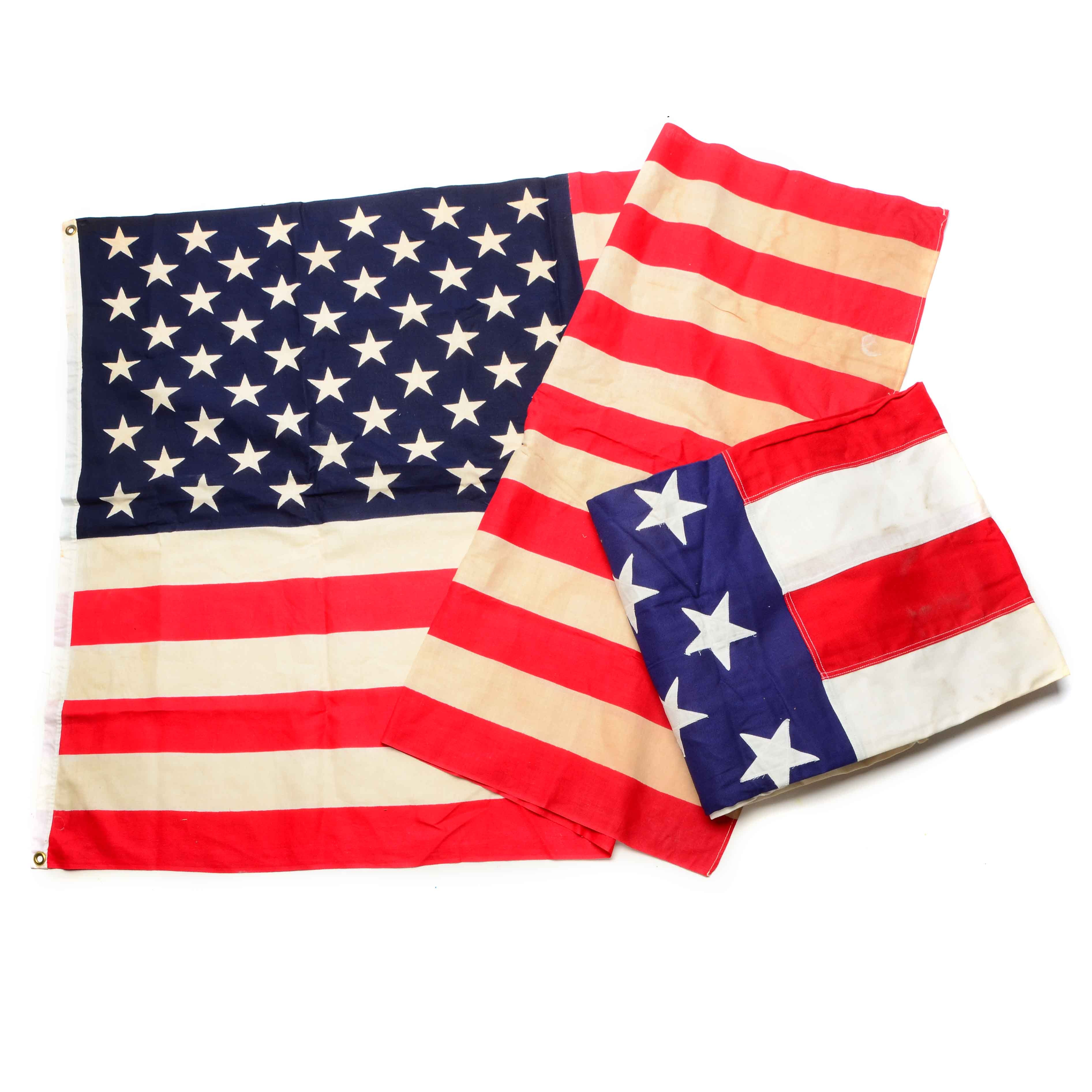 Pair of Vintage American Flags