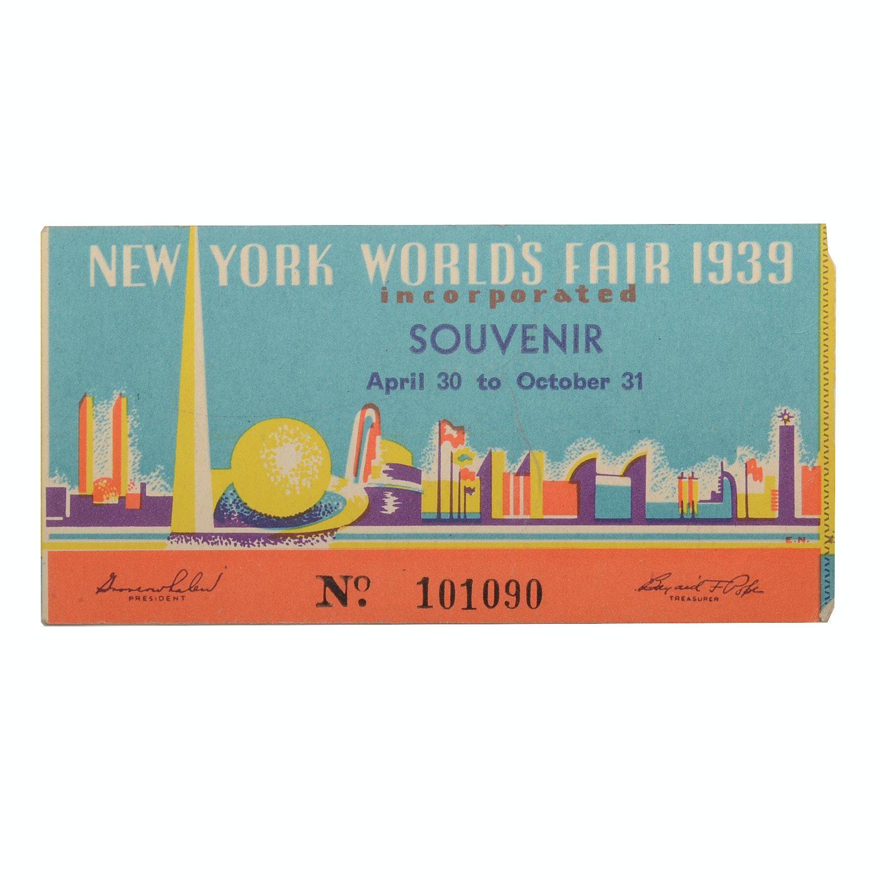 1939 World's Fair Ticket Stub
