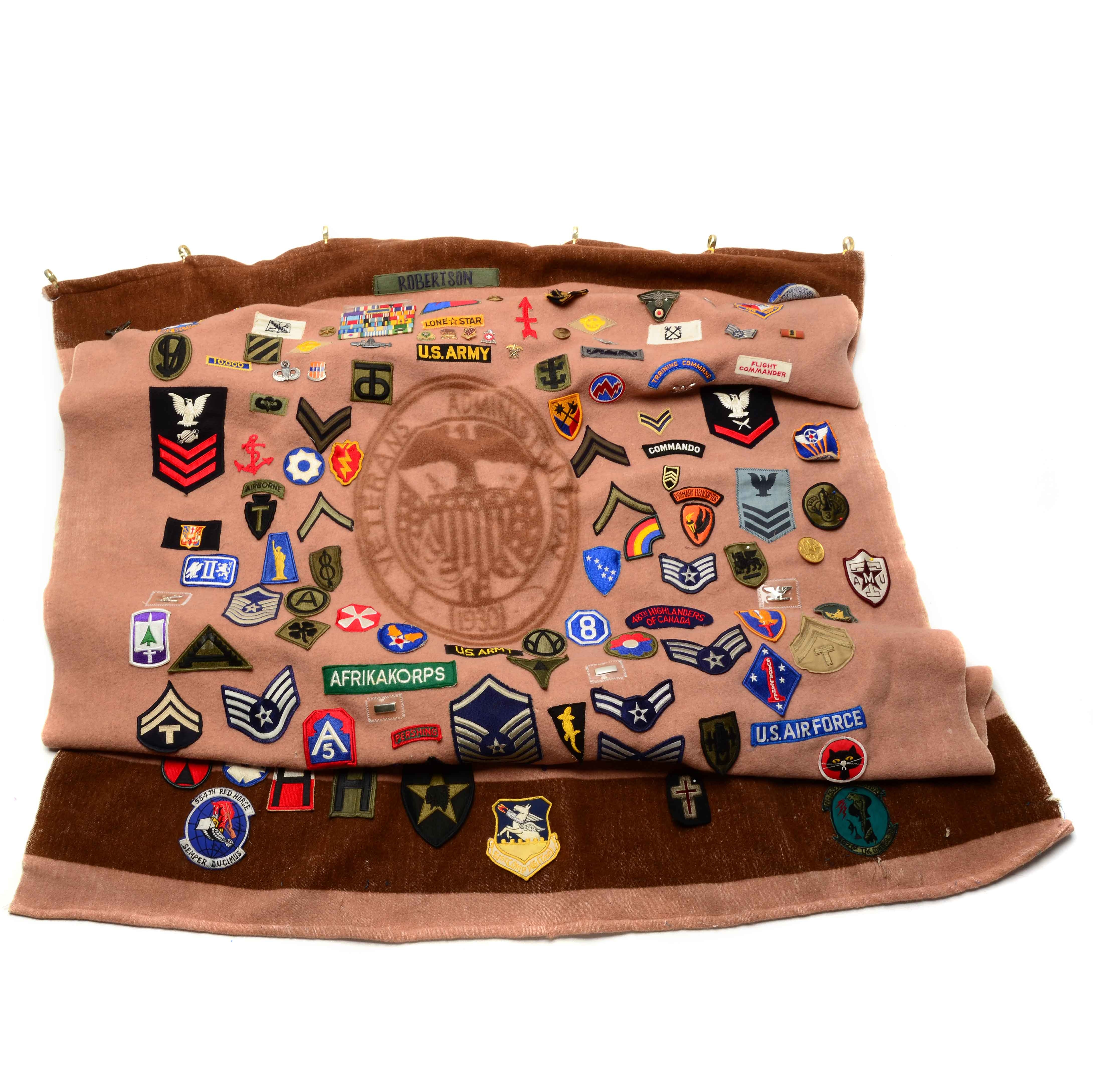 Blanket with Large Collection of Military Patches and Buttons