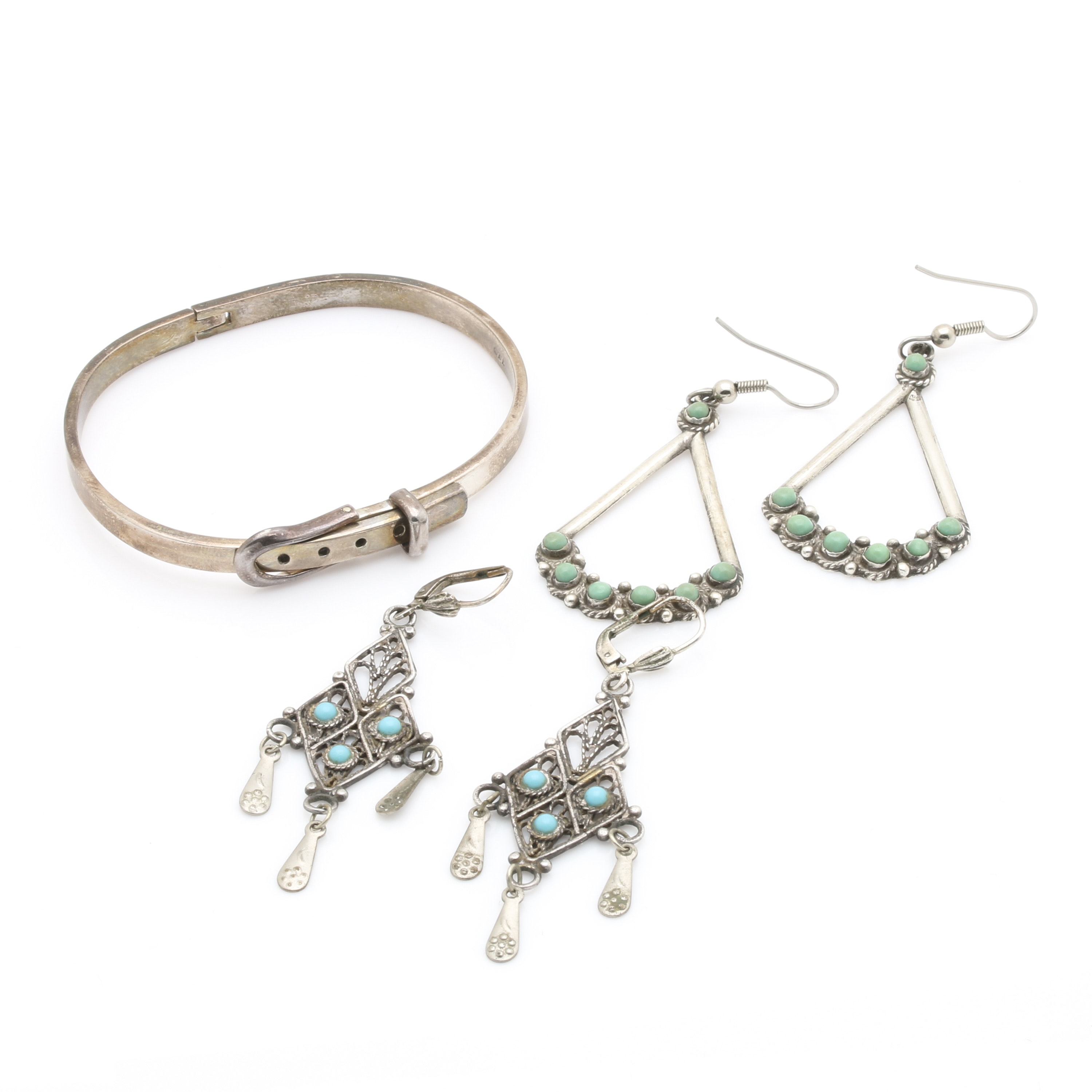 Sterling Silver Bracelet and Earrings With Turquoise Stones