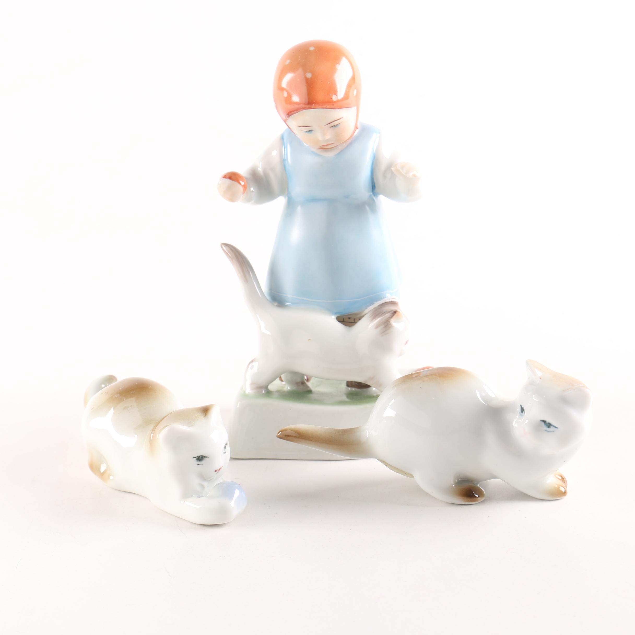 Hand-Painted Zsolnay Cats with Girl and Cat Figurine