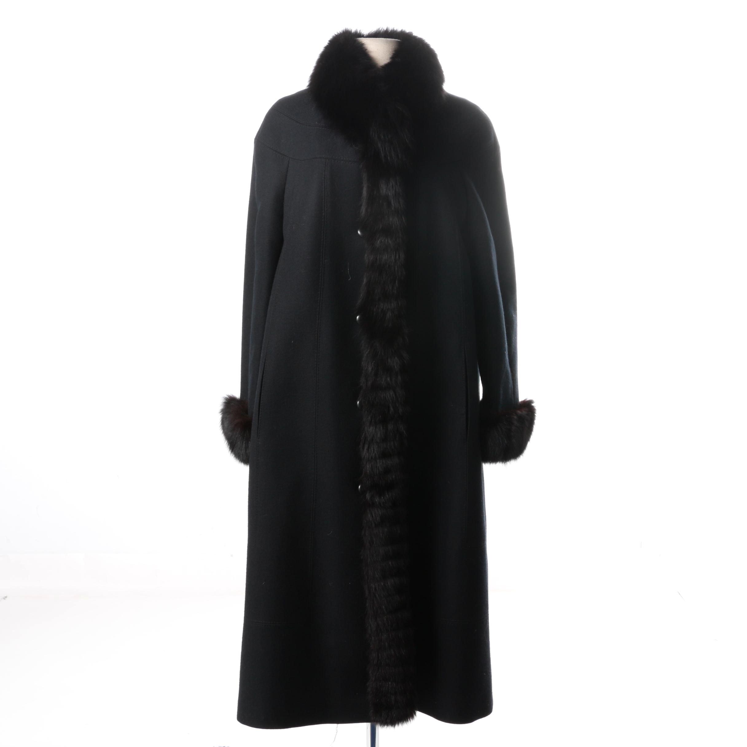 Baldin-Brussels Women's Wool Coat with Fox Fur Trim