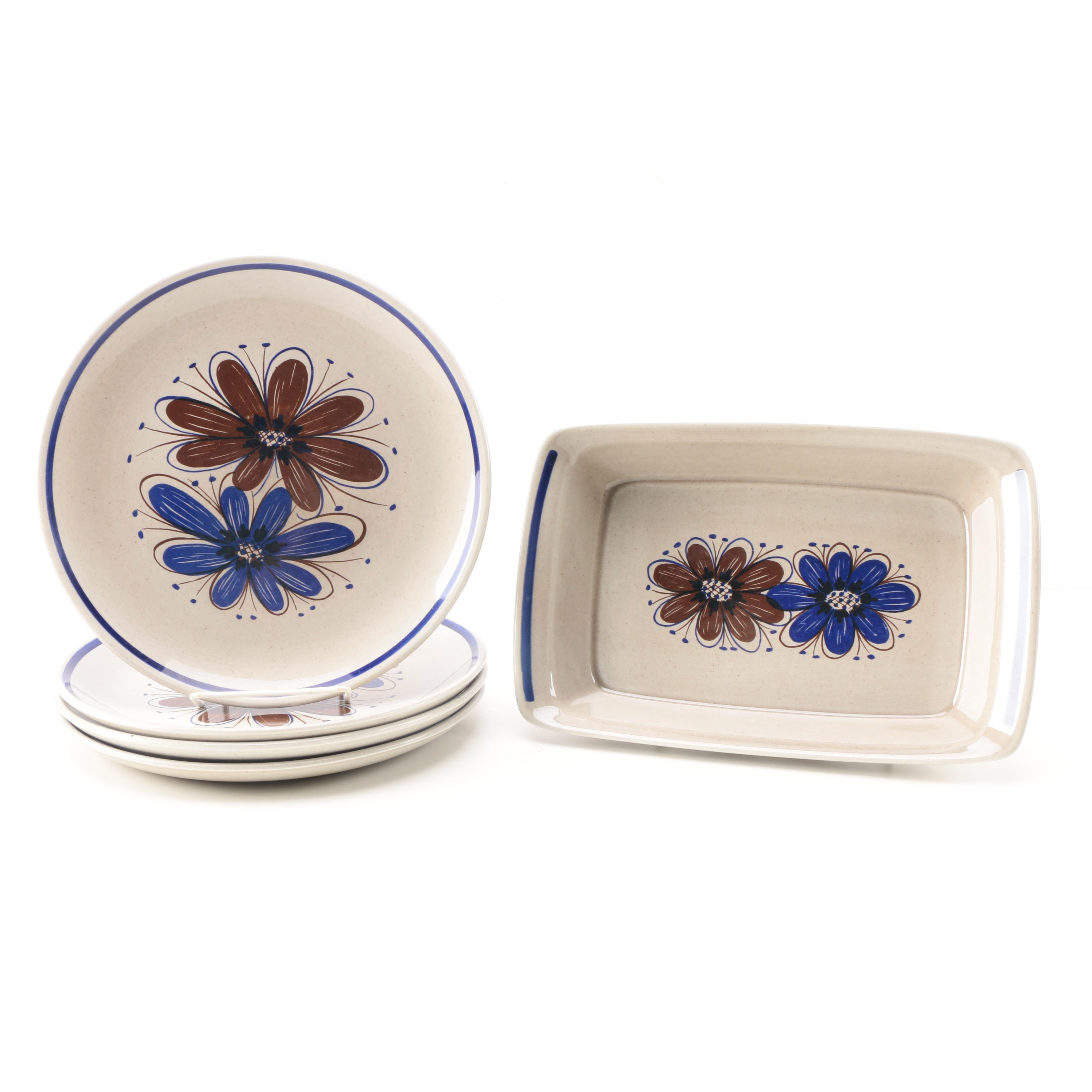 Stavangerflint Ceramic Dinner Plates and Serving Dish