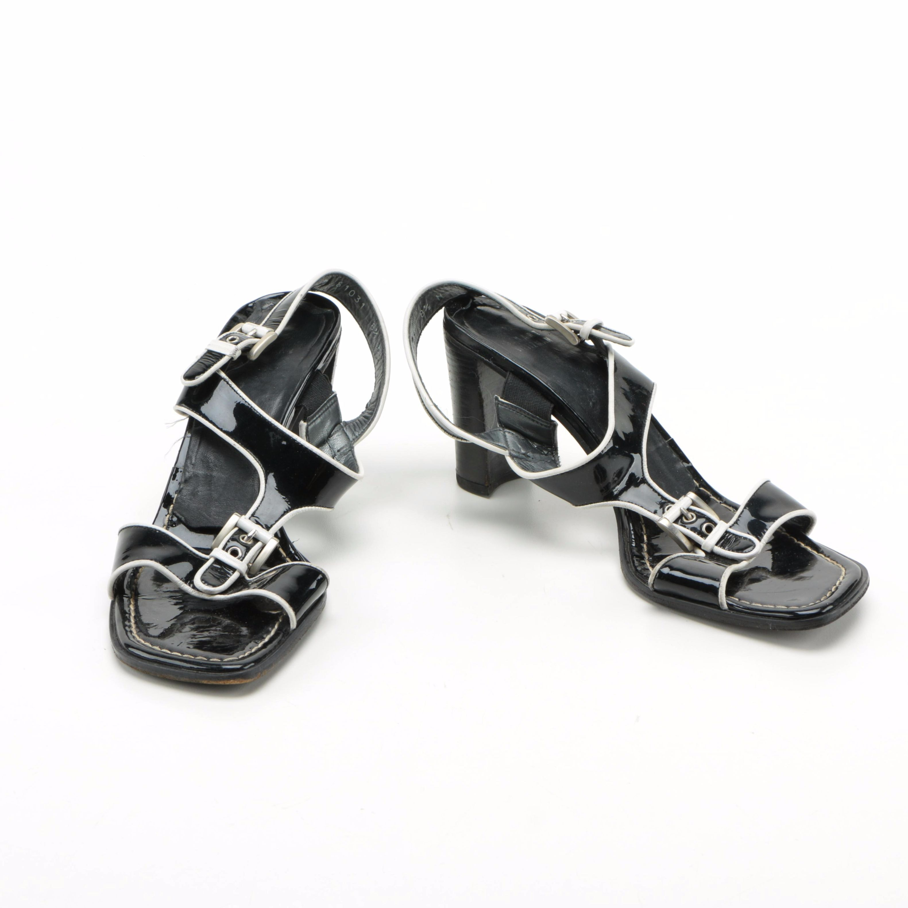 Stuart Weitzman Black and White Patent Leather Sandals