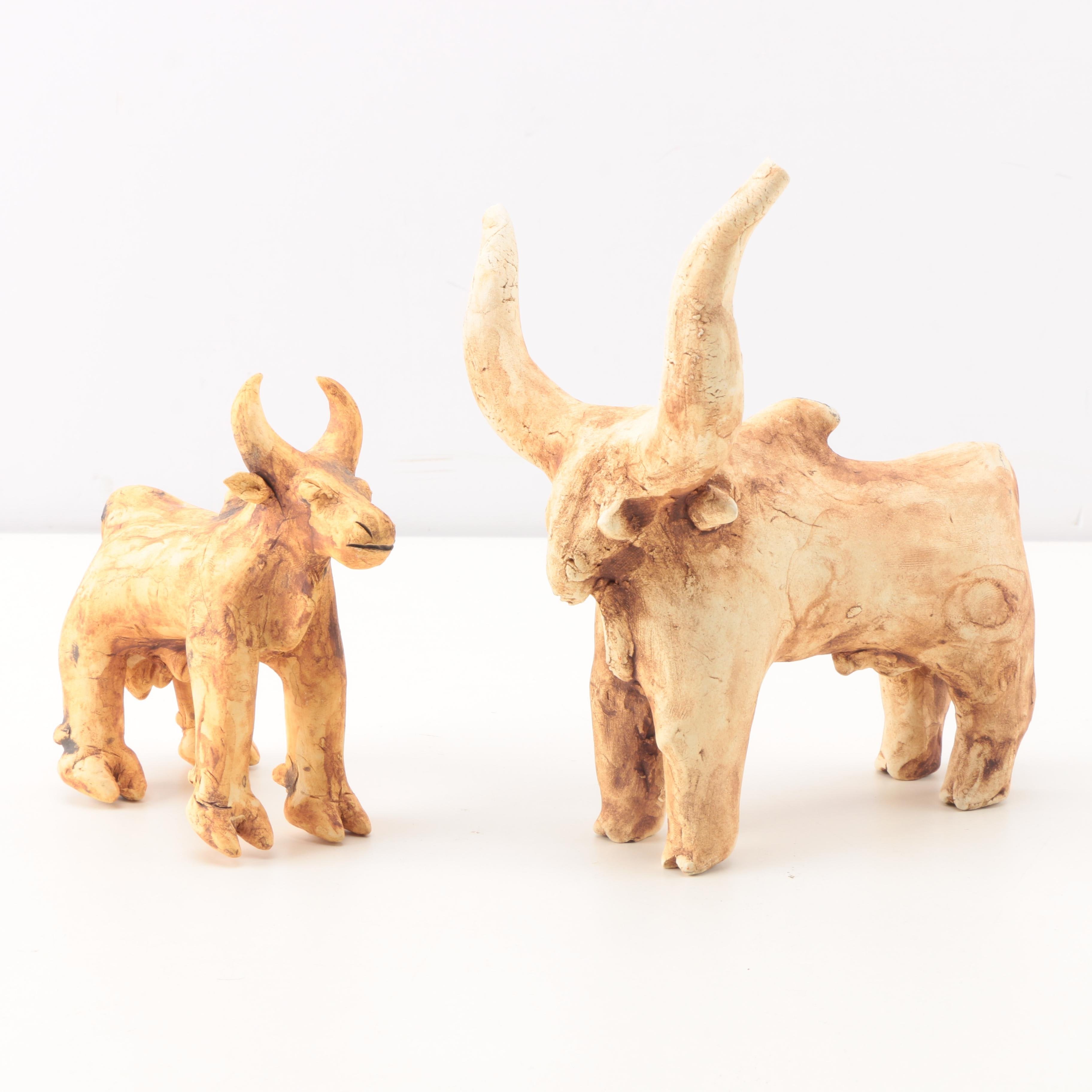 Latin American Style Bull and Cow Figurines