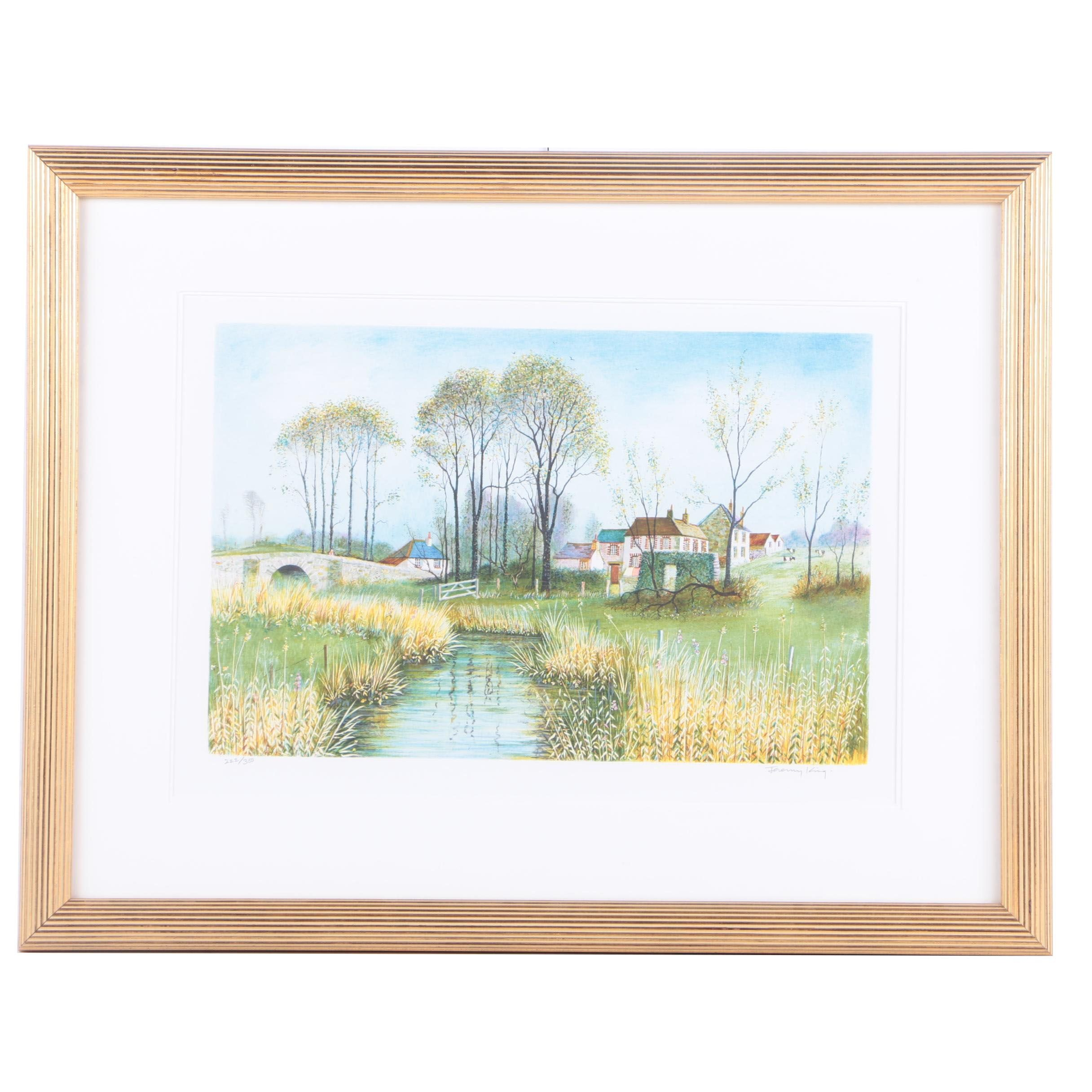 Jeremy King Limited Edition Lithograph of Rustic Town