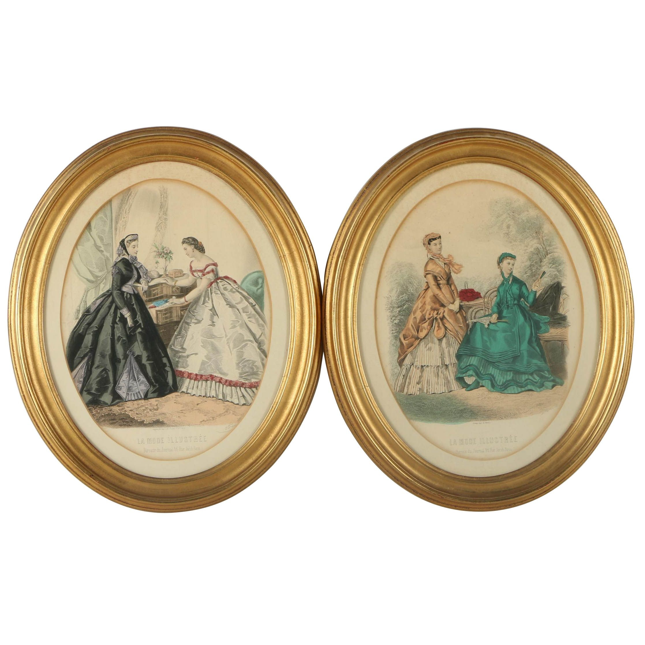 "Antique Hand Colored Engravings of Fashion Plates from ""La Mode Illustrée"""