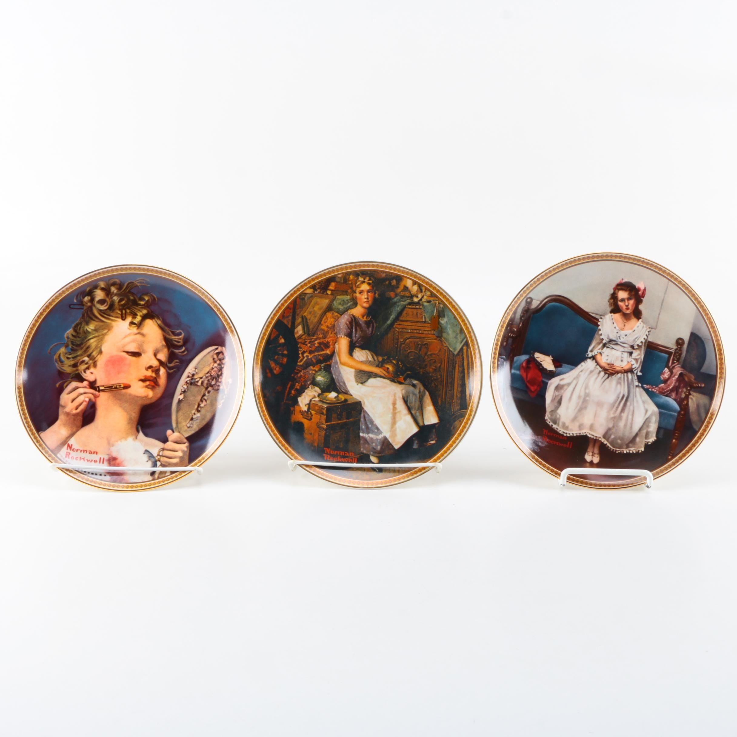 """Knowles Limited Edition """"Rockwell's Rediscovered Women"""" Collection Plates"""