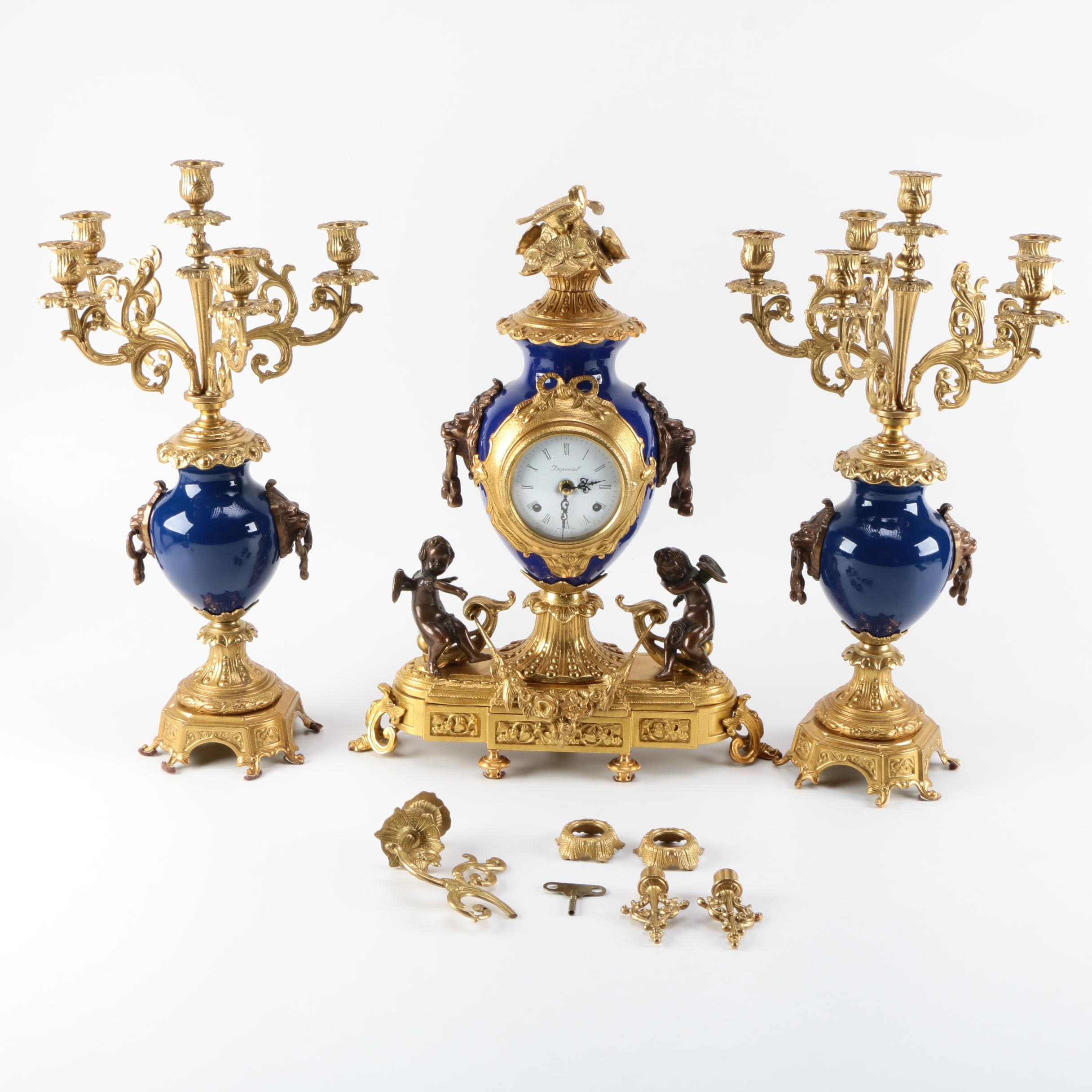 Imperial Italy Brass Mantle Clock and Garniture Set