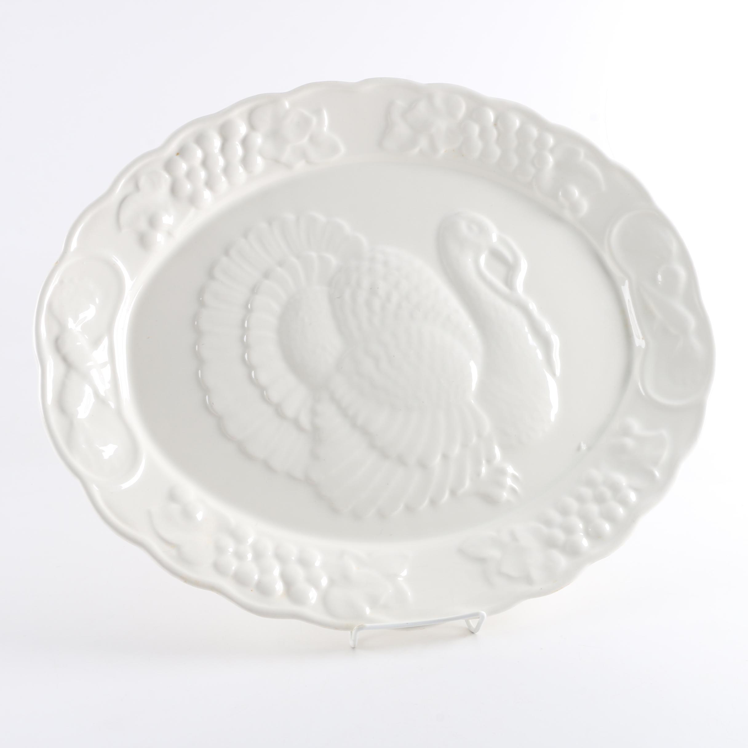 Porcelain Serving Platter with Embossed Turkey Design