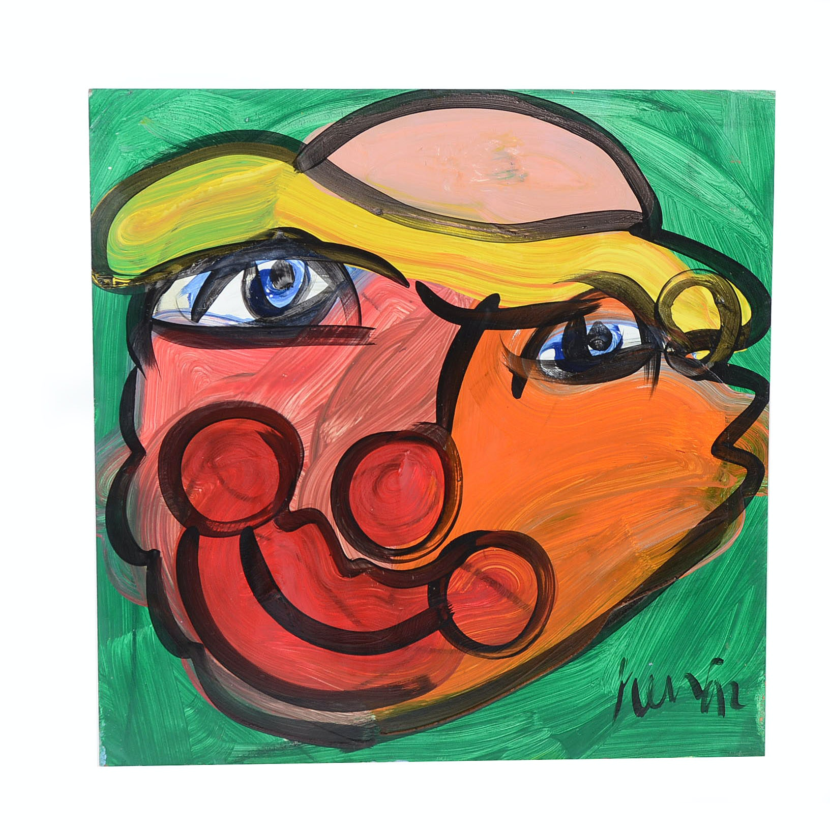 """Peter Keil Original 1992 Neo-Expressionist Oil Painting on Board """"Clown Frown"""""""