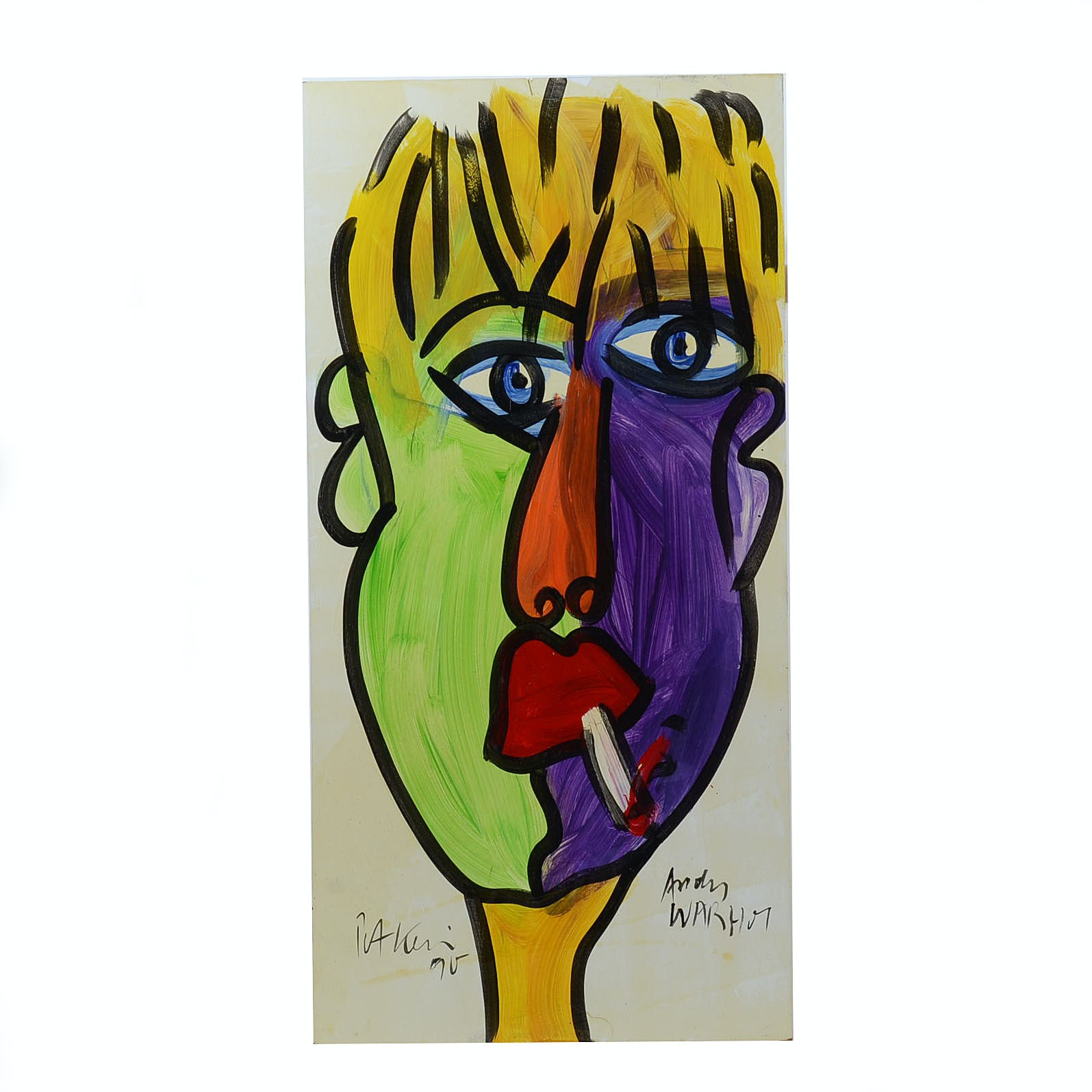 "Peter Keil Original 1990 Neo-Expressionist Oil Painting on Board ""Andy Warhol"""