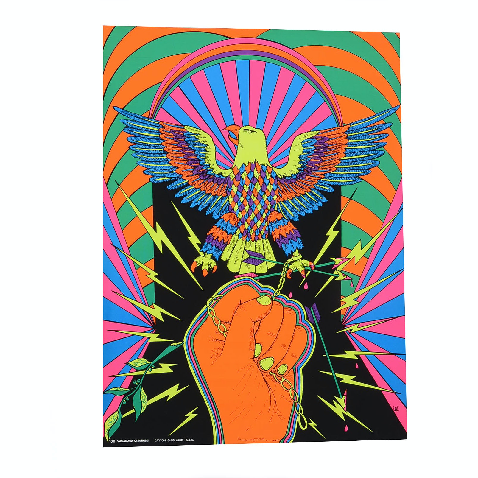 Psychedelic Serigraph Poster of a Chained Eagle
