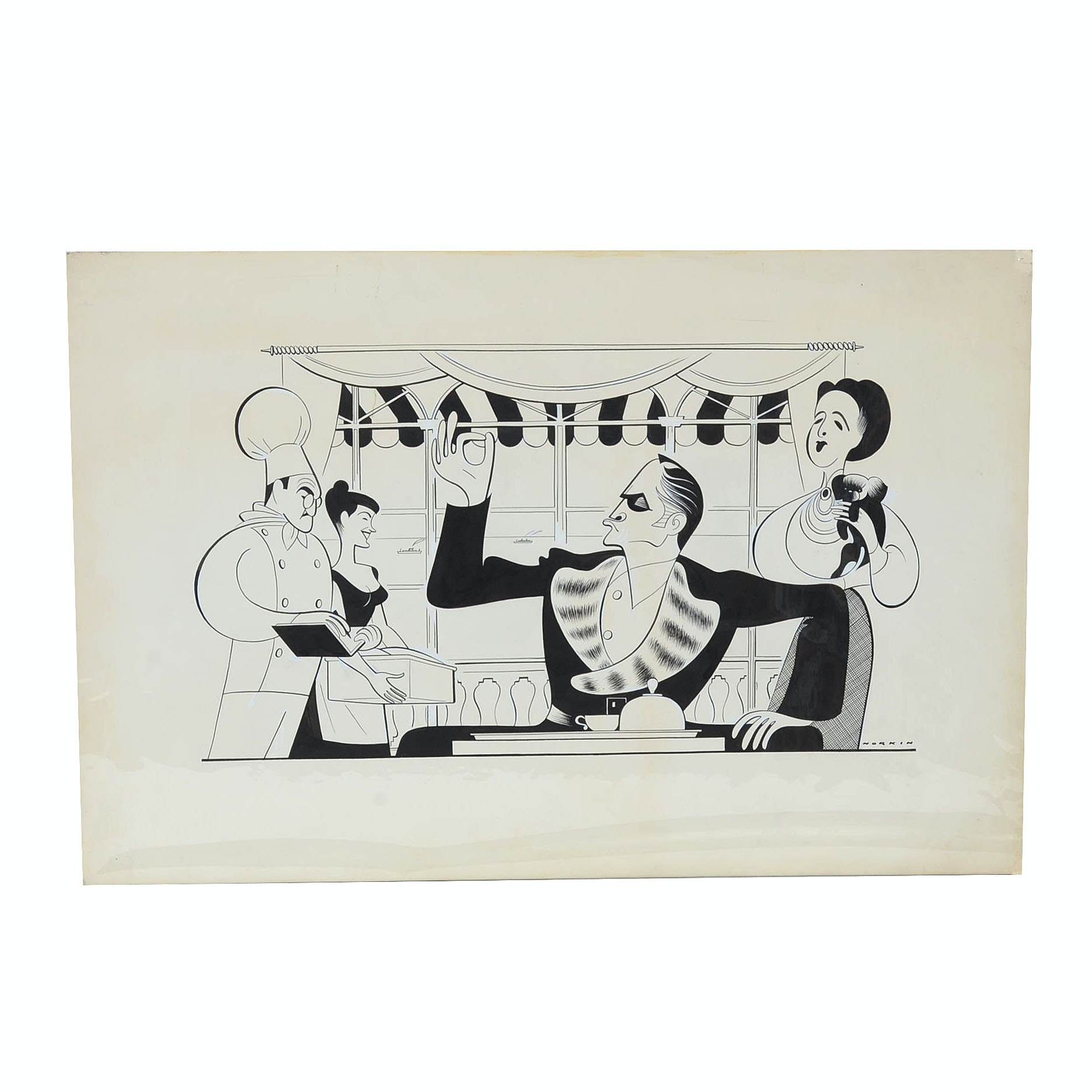 "Sam Norkin Original Theatrical Ink Illustration ""Now I Lay Me Down To Sleep"""