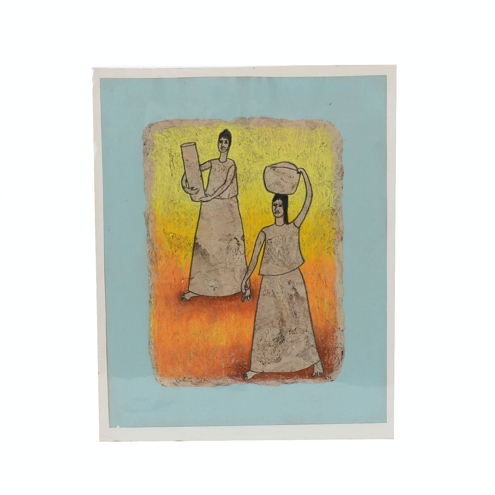 Valetta Swann Pastel Drawing of Two Women