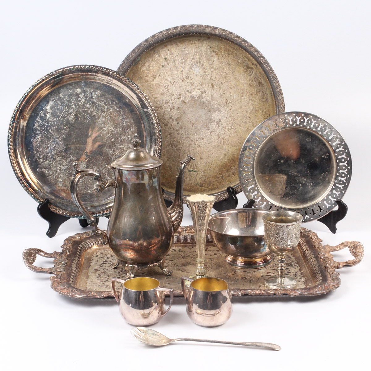 Silver Plate Tableware Assortment Including Wm Rogers