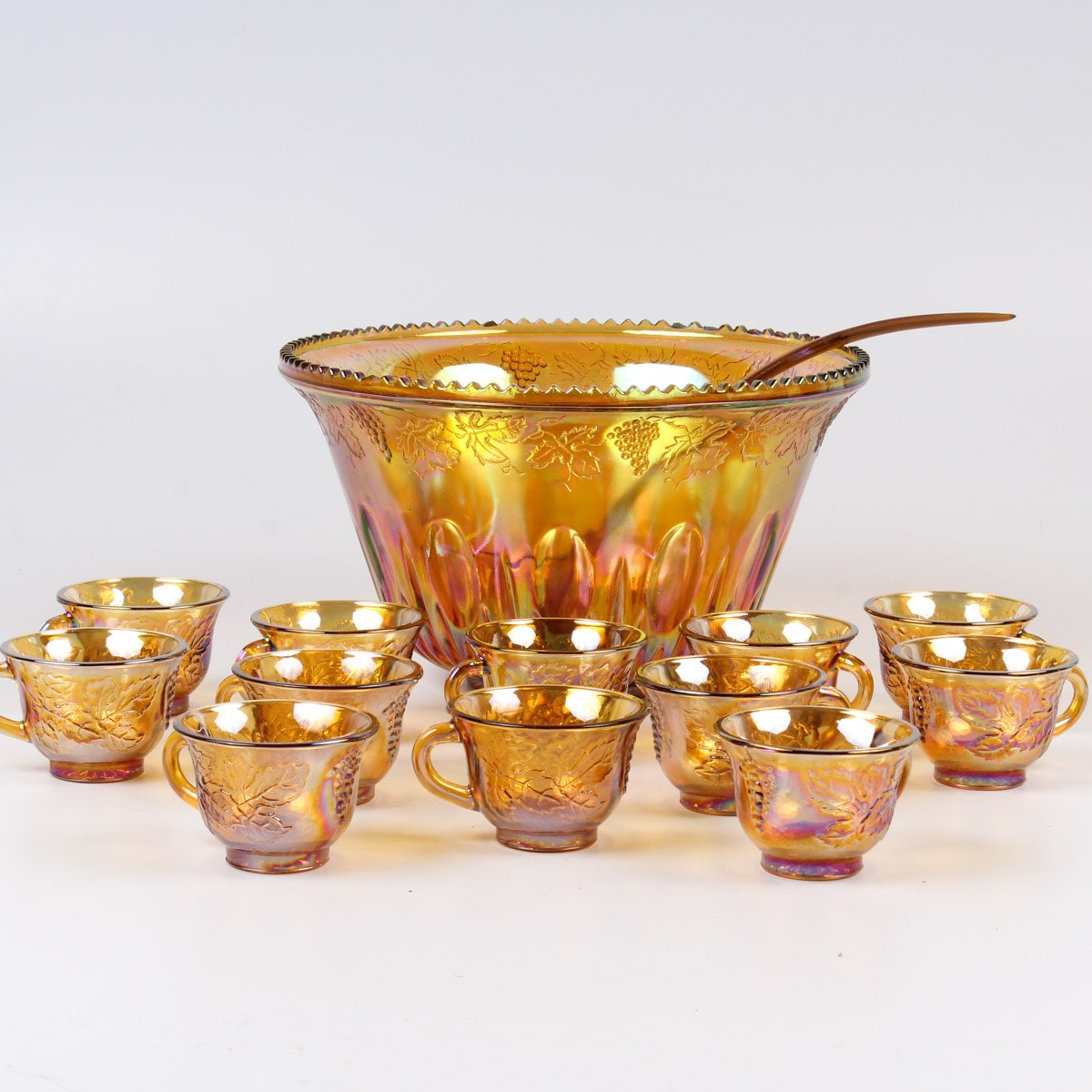 Carnival Glass Punch Bowl Set