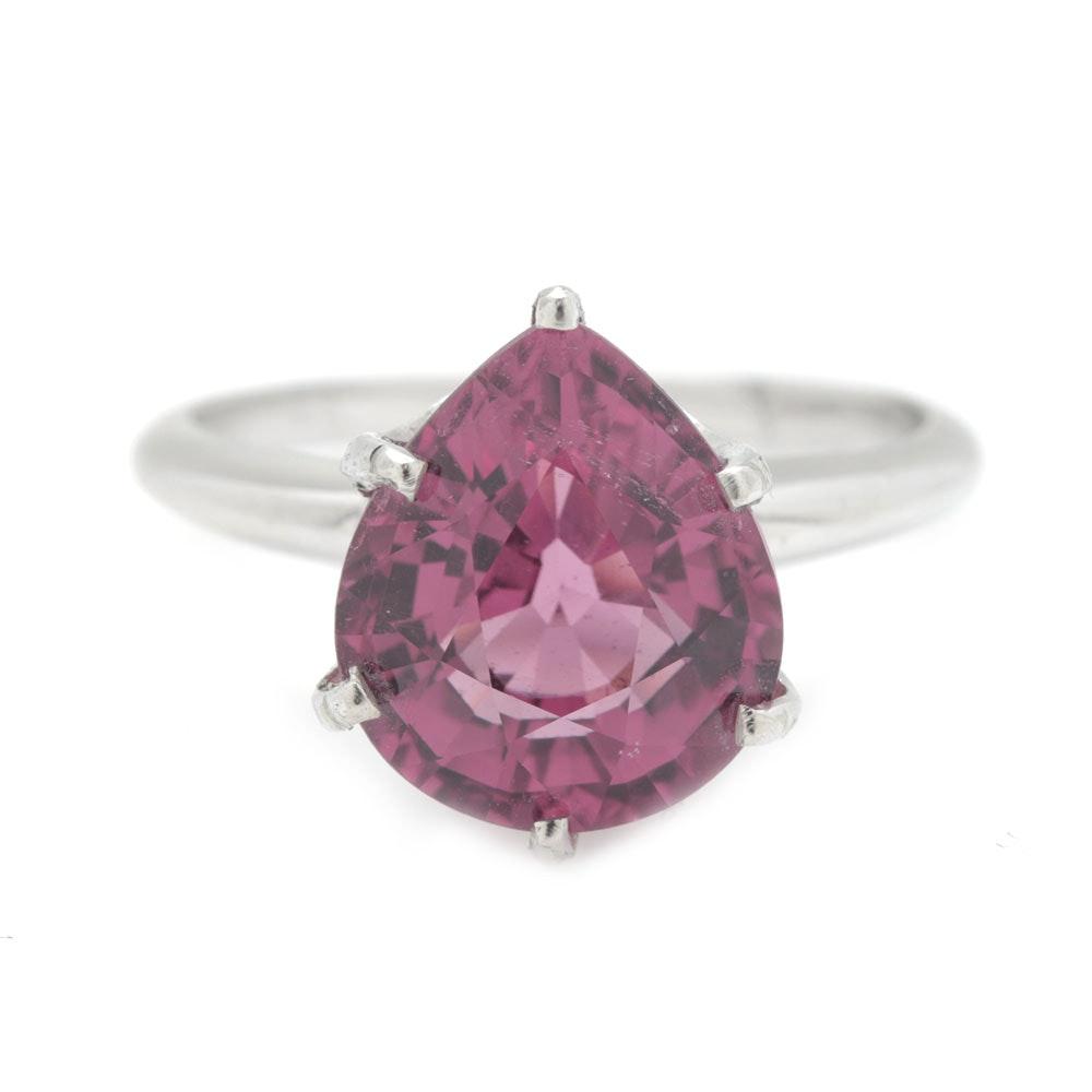 18K White Gold 4.20 CT Pink Tourmaline Ring