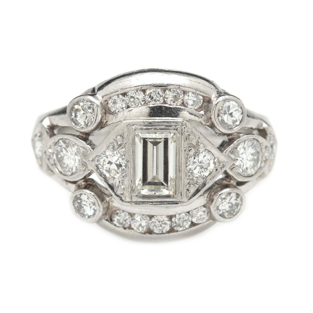 Platinum 0.83 CTW Diamond Ring