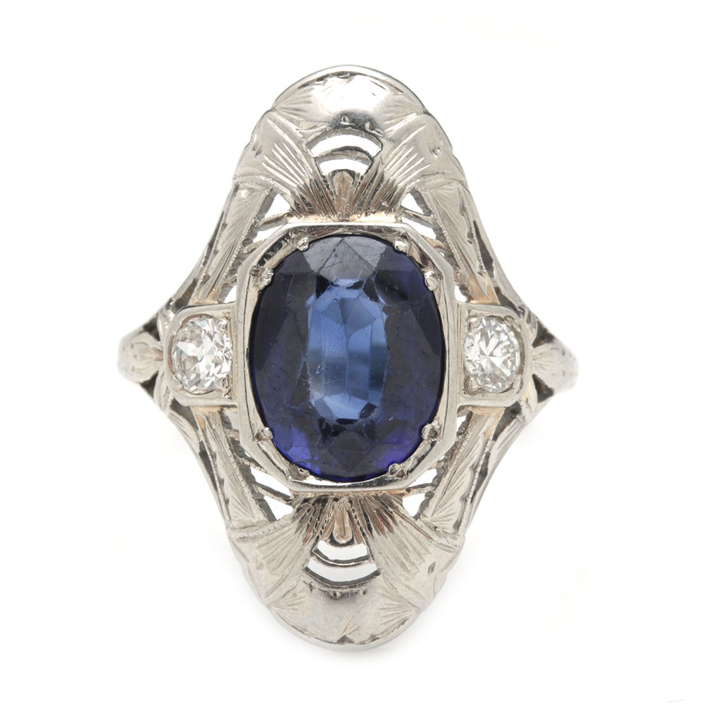 18K White Gold Diamond and Blue Sapphire Ring