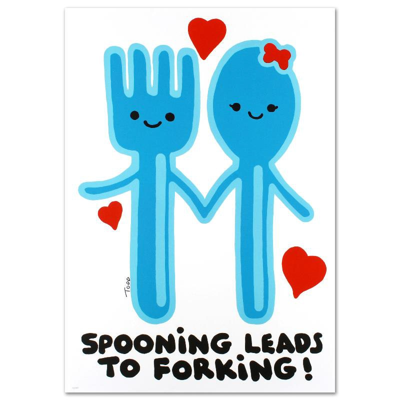 """""""Spooning Leads to Forking"""" Limited Edition Lithograph"""