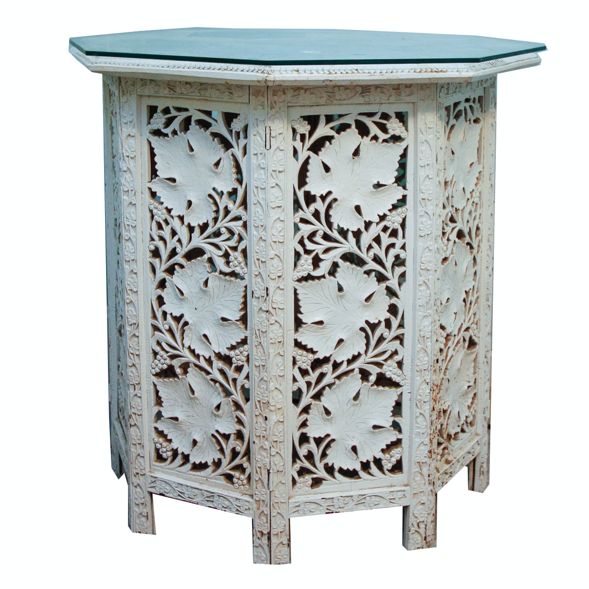 Painted Carved Wood Side Table