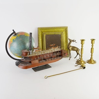 Decor Group Including Desktop Paddle Steamer