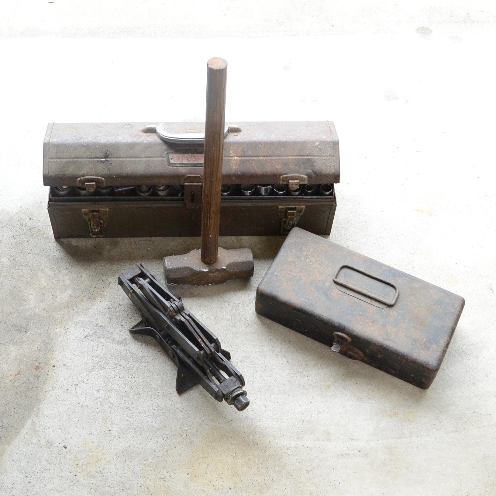 Metal Tool Box, Car Jack and Sledgehammer