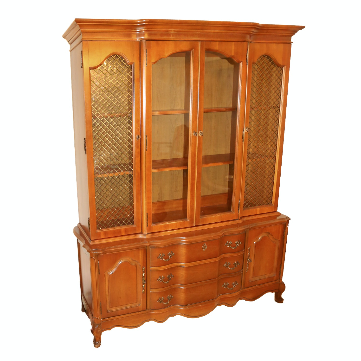 Louis XV Style Cherry China Cabinet by Basset Furniture