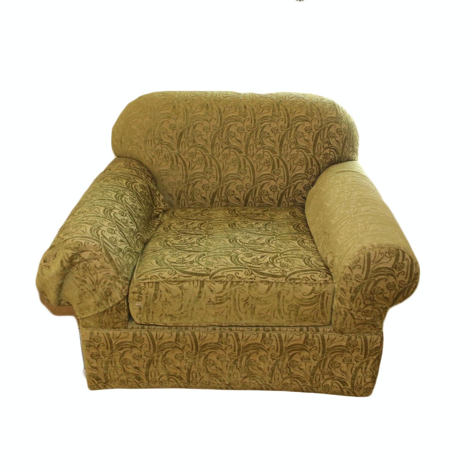 Green Floral Upholstered Club Chair