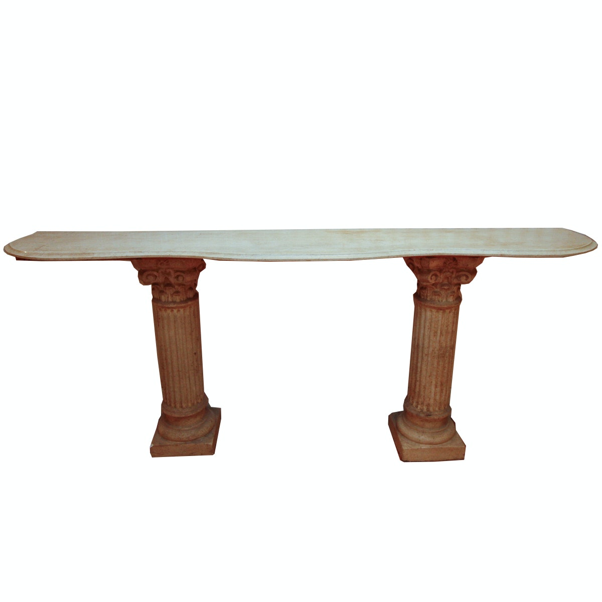 Neoclassical Style Granite Top Console Table