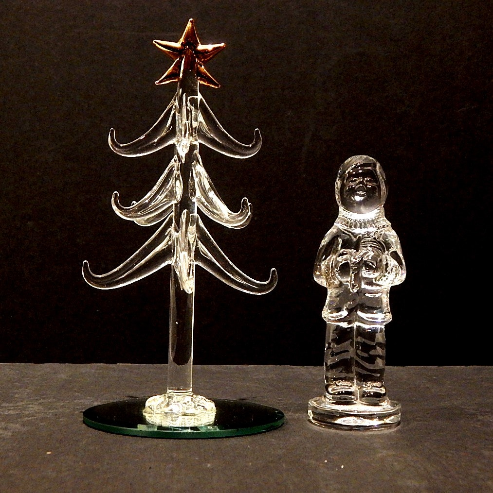 Waterford Crystal Boy Caroler and Glass Tree