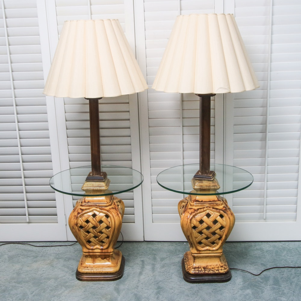 Pair of Floor Lamps With Tray Tables