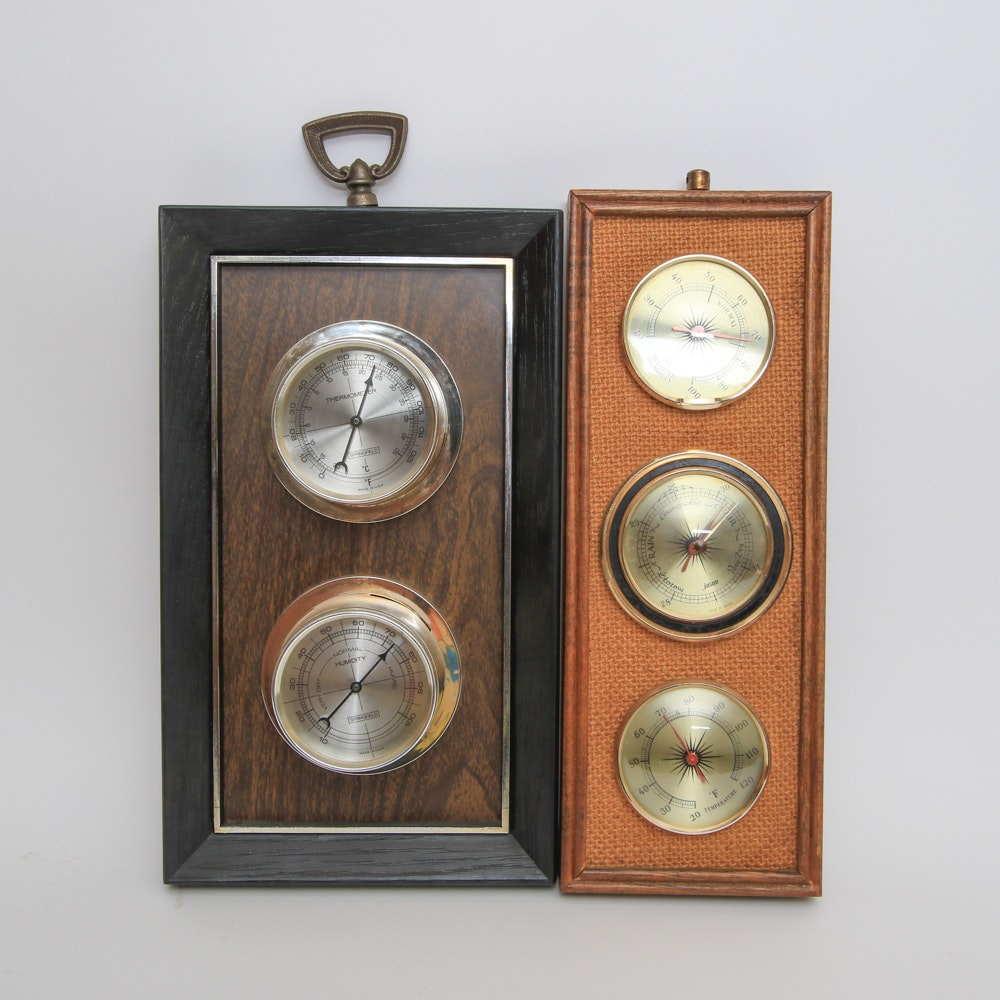 Pair of Framed Weather Instruments