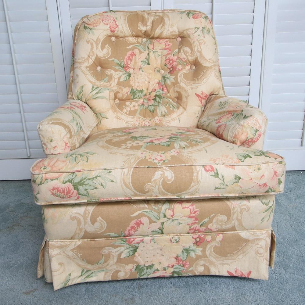 Vintage Floral Upholstered Swivel Rocking Chair
