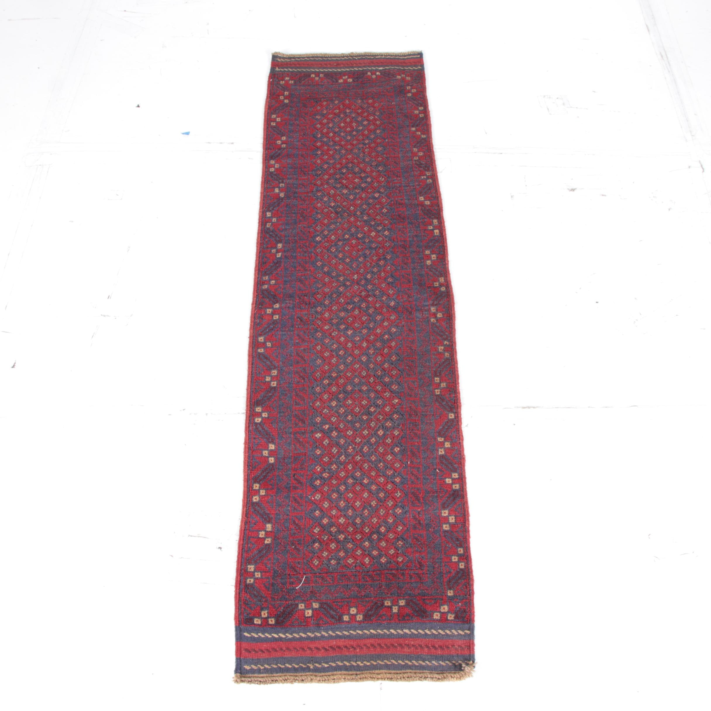 Hand-Knotted and Embroidered Baluch Tribal Carpet Runner
