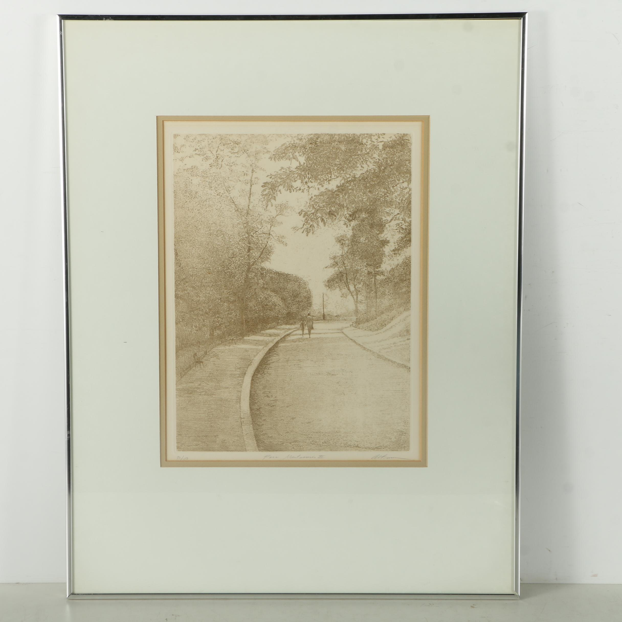 "Harold Altman Limited Edition Etching on Paper ""Parc Montsouris III"""