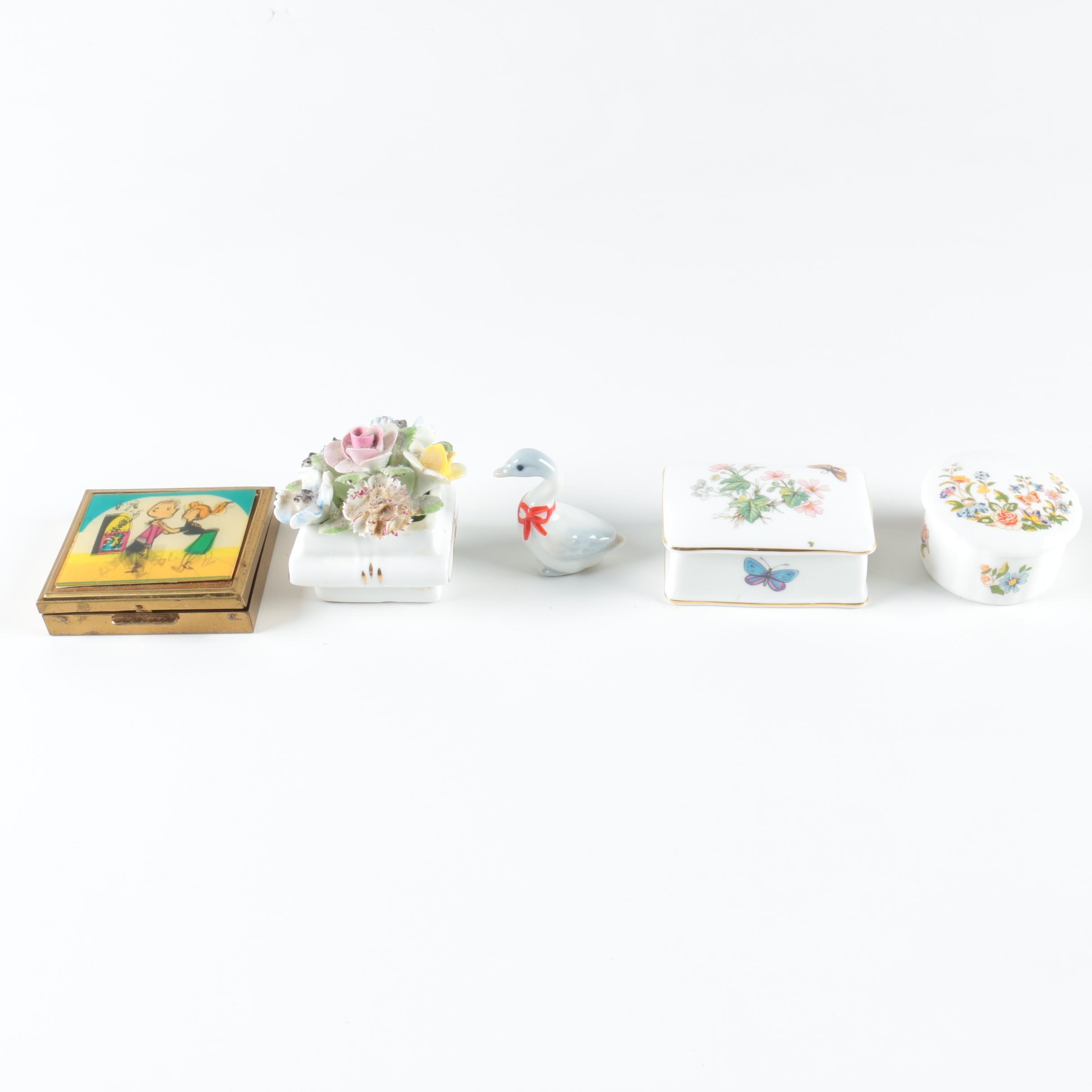 Porcelain Trinket Boxes and Figurine plus Vintage Compact