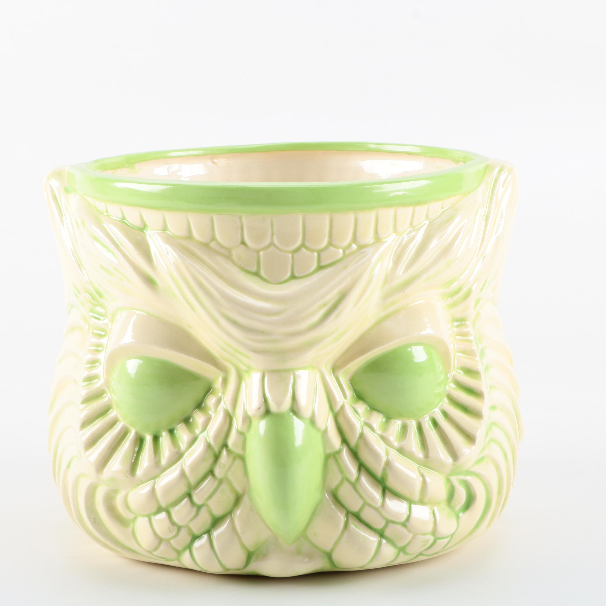 Vintage Glazed Earthenware Owl Planter