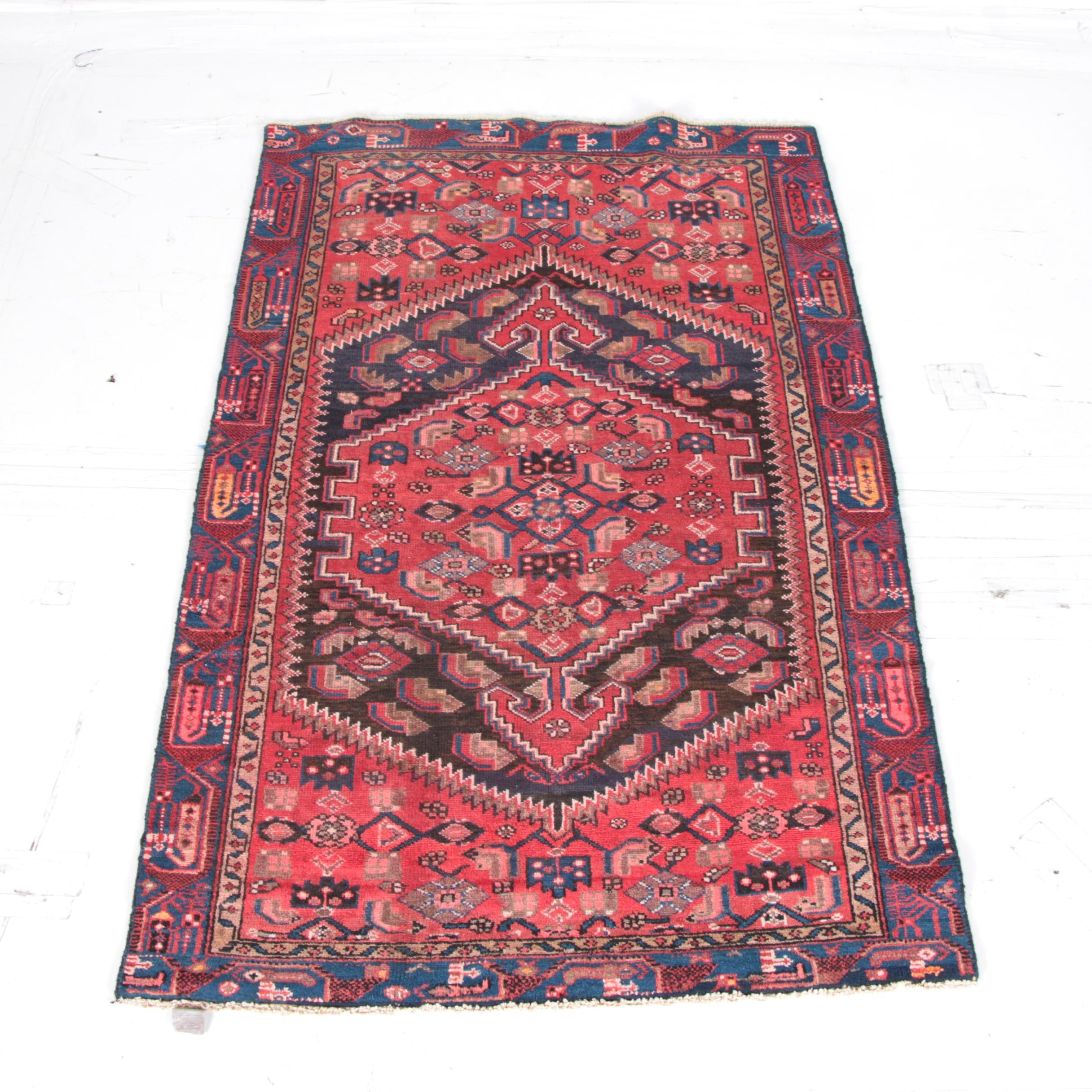 Handwoven Semi-Antique Persian Zanjan Shiraz Wool Area Rug
