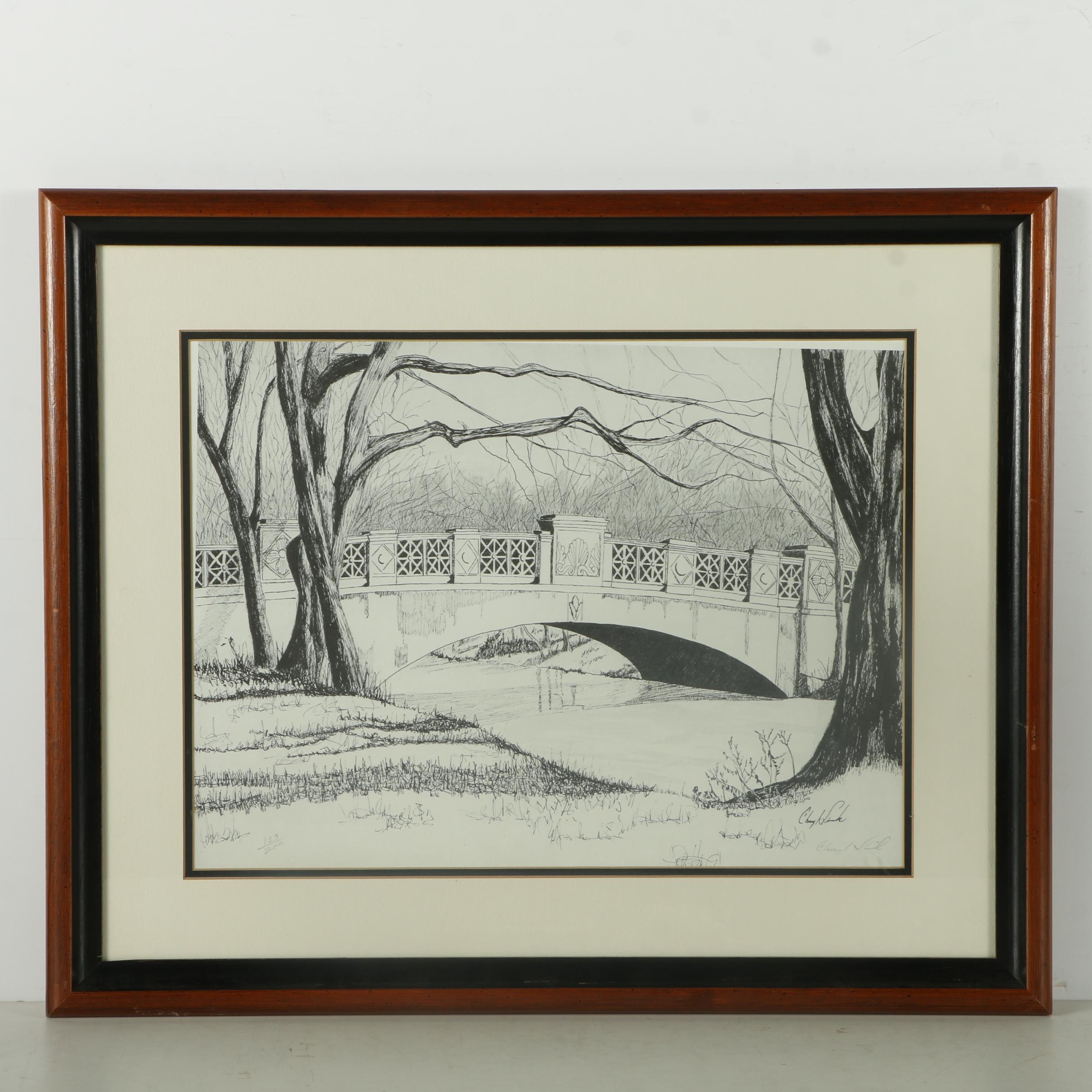 Cheryl Sink Limited Edition Halftone Print After Illustration of Park Bridge