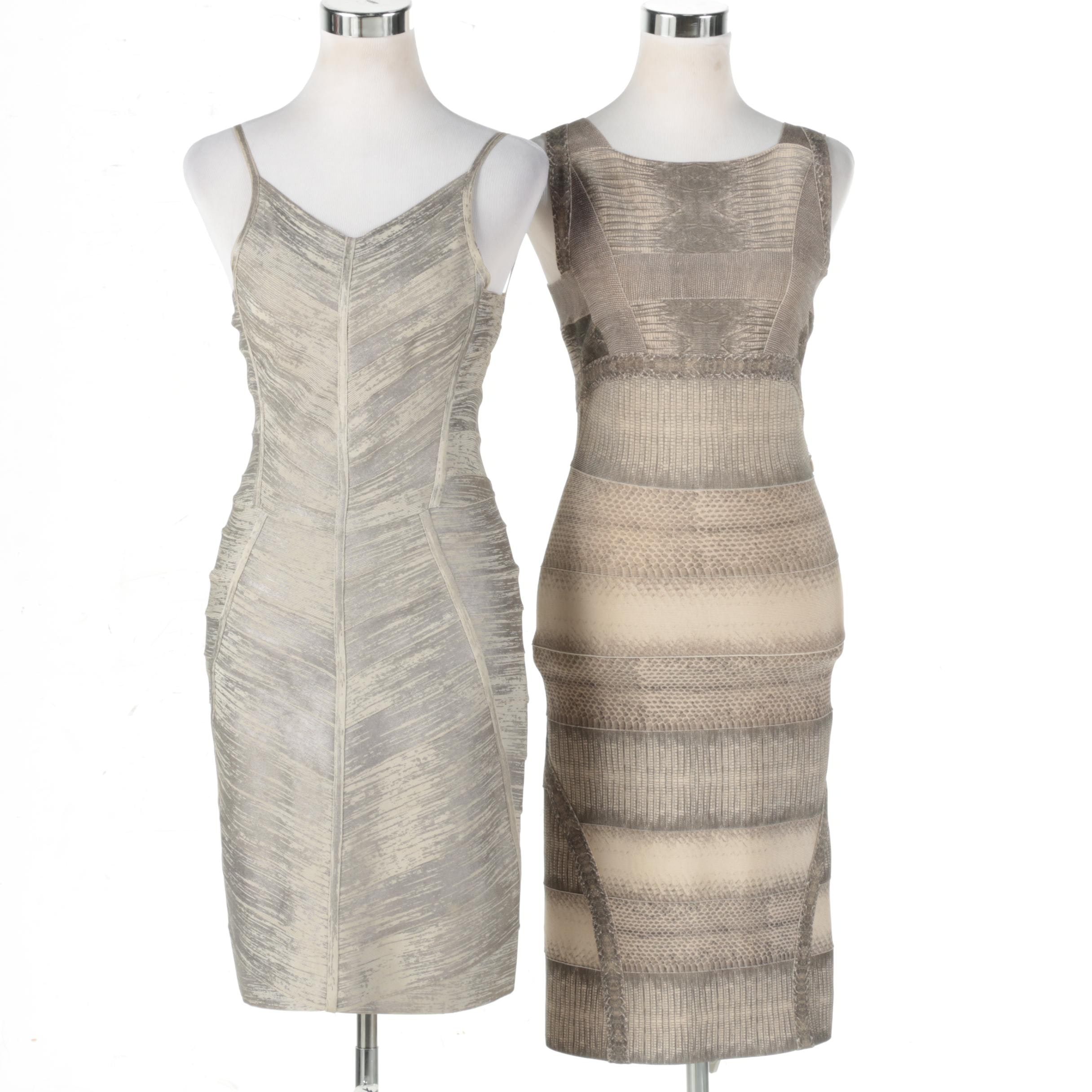 Pair of Women's Hervé Léger Designer Sleeveless Dresses
