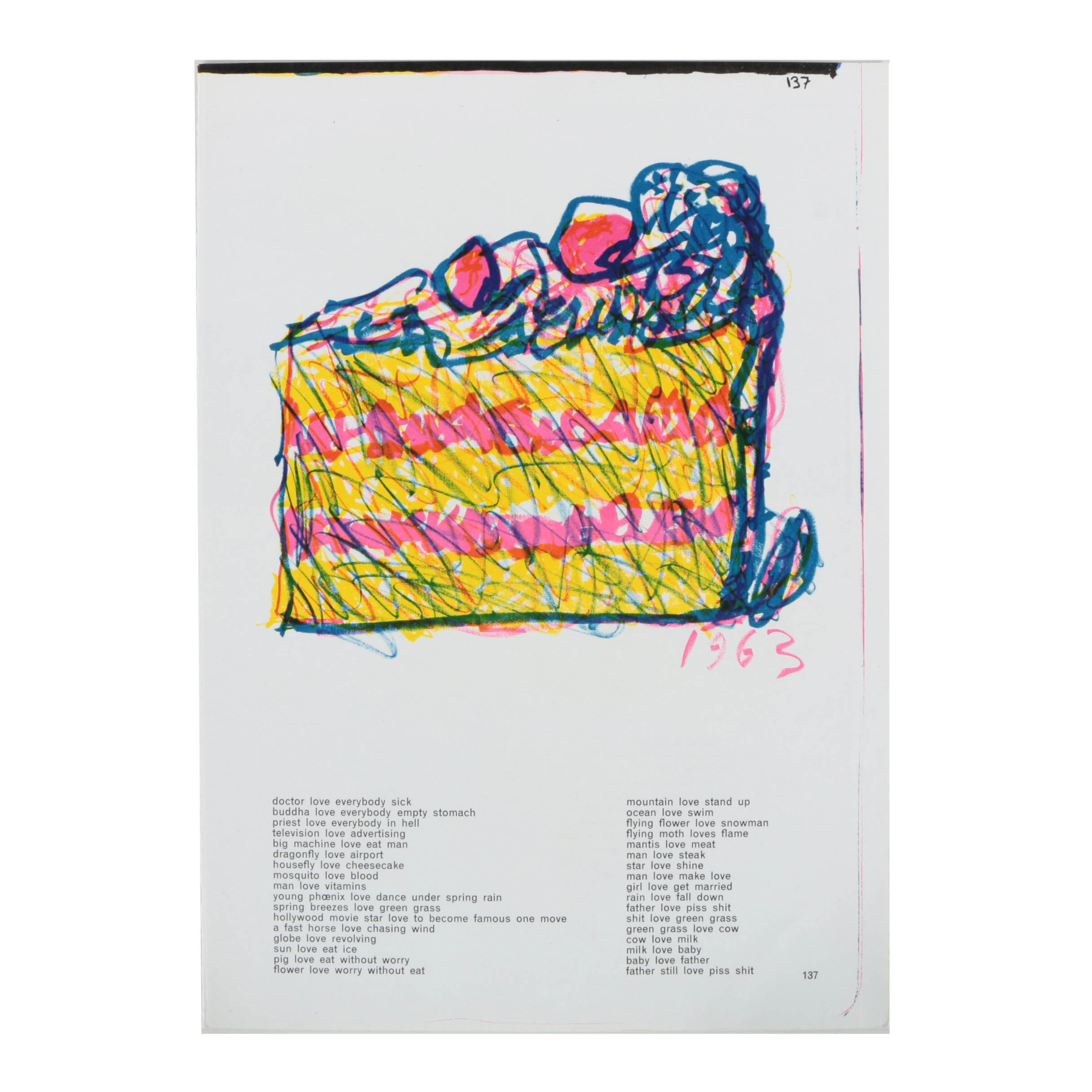 """Claes Oldenburg Lithograph on Paper """"Slice of Cake"""" from """"One Center Life"""""""