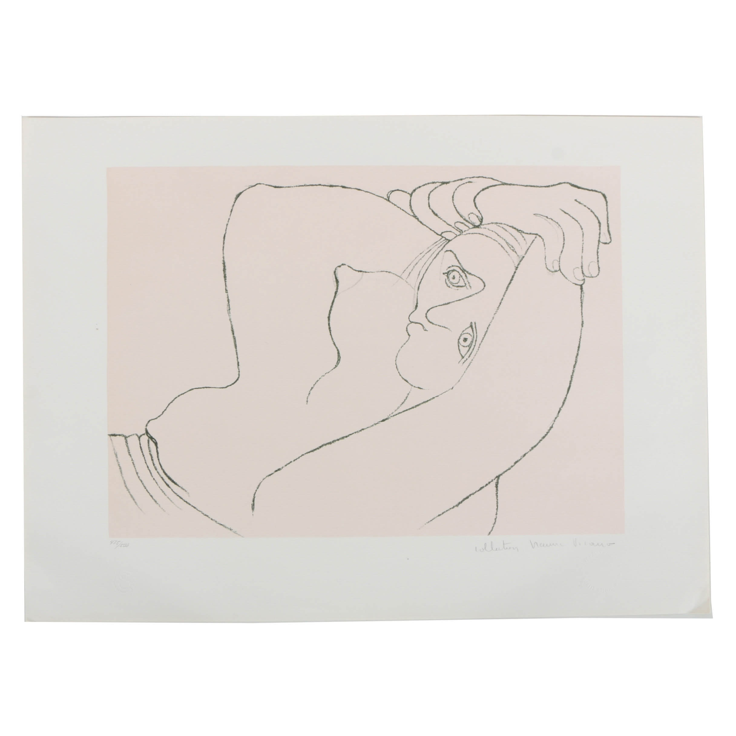 """Reproduction After Pablo Picasso Lithograph on Paper """"Femme Couchee"""""""