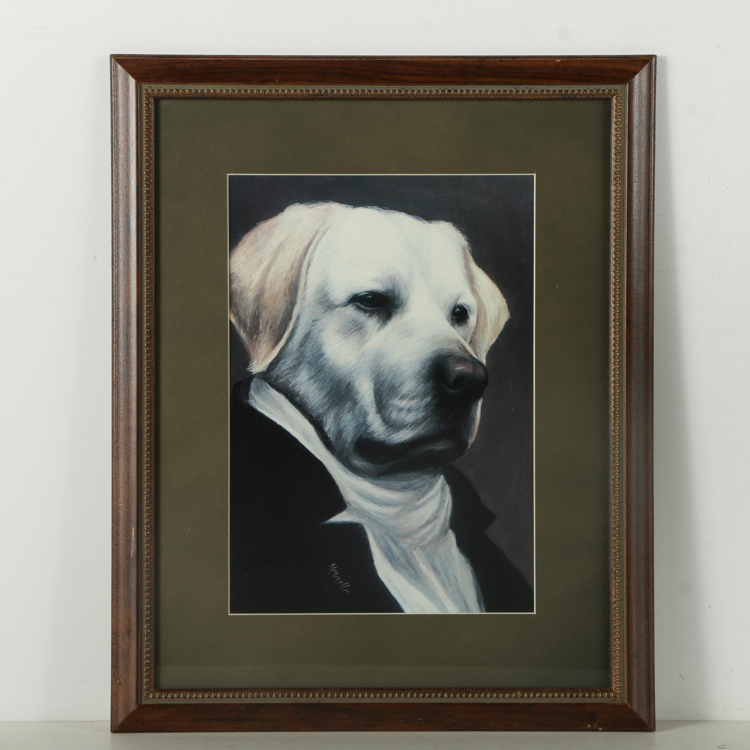 Bombay Company Offset Lithograph of Anthropomorphic Dog
