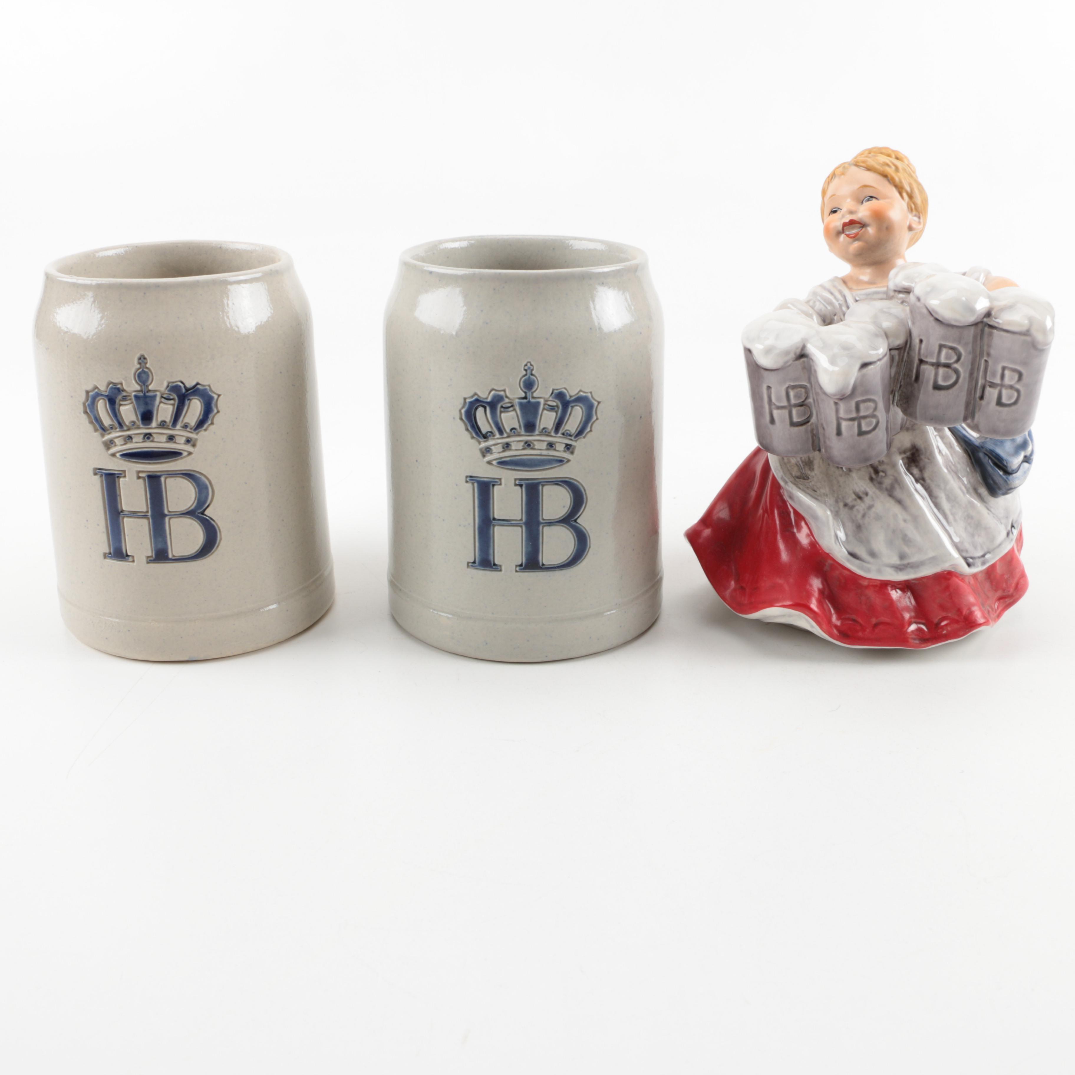 Hofbräu Steins with Goebel Beer Maid Figurine