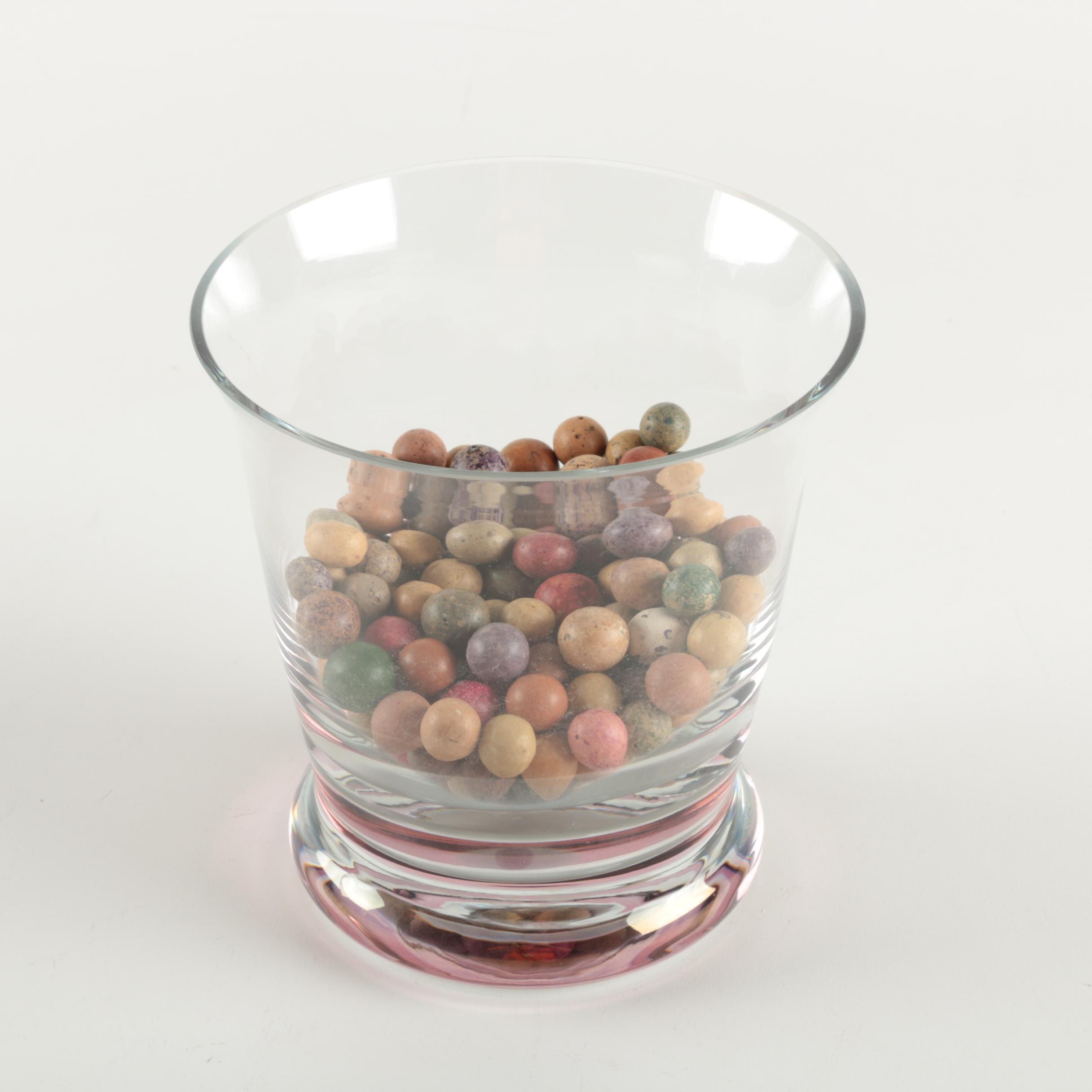 Clay Marbles In Glass Bowl